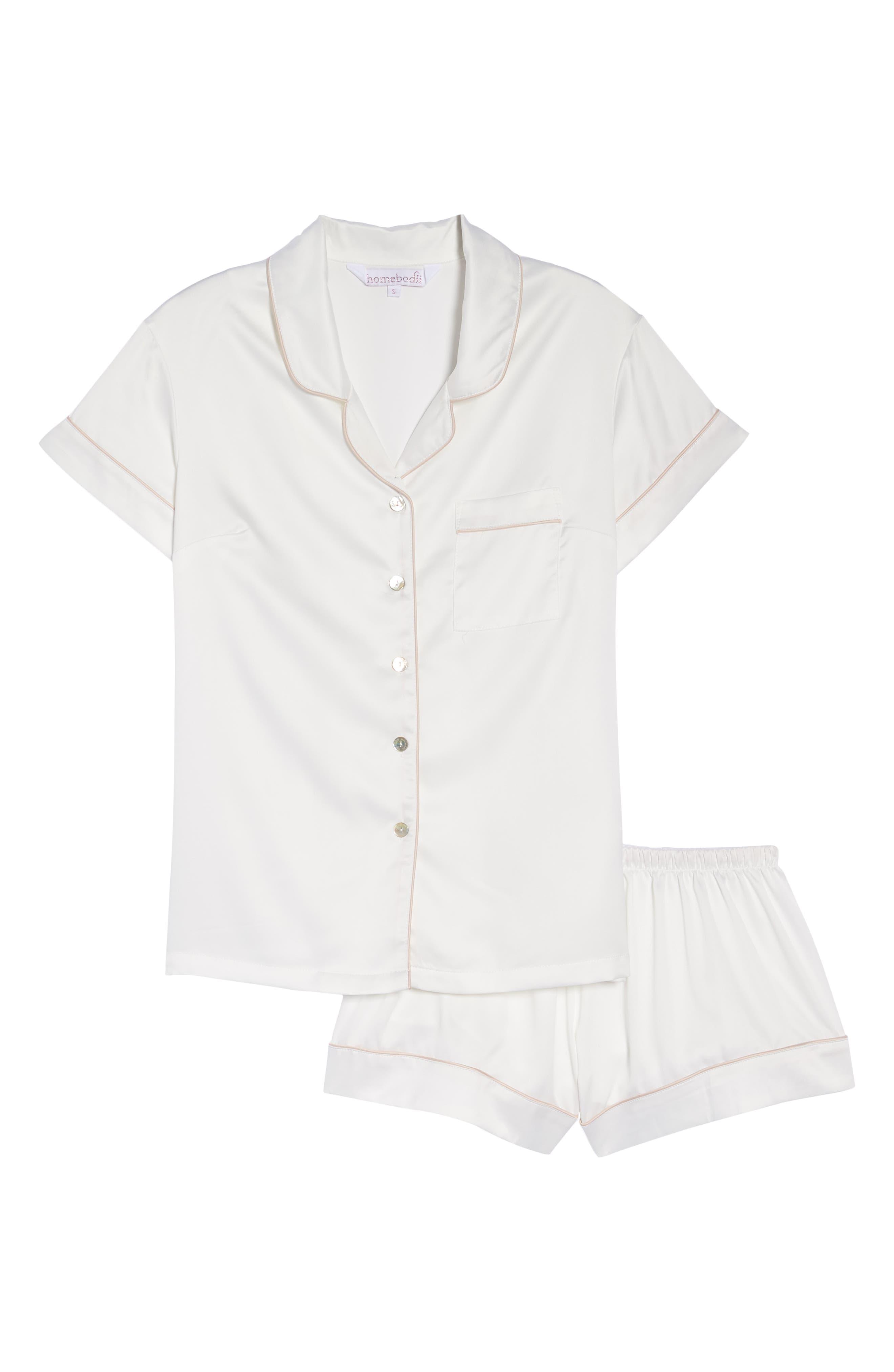 Piped Short Pajamas,                             Alternate thumbnail 4, color,                             White