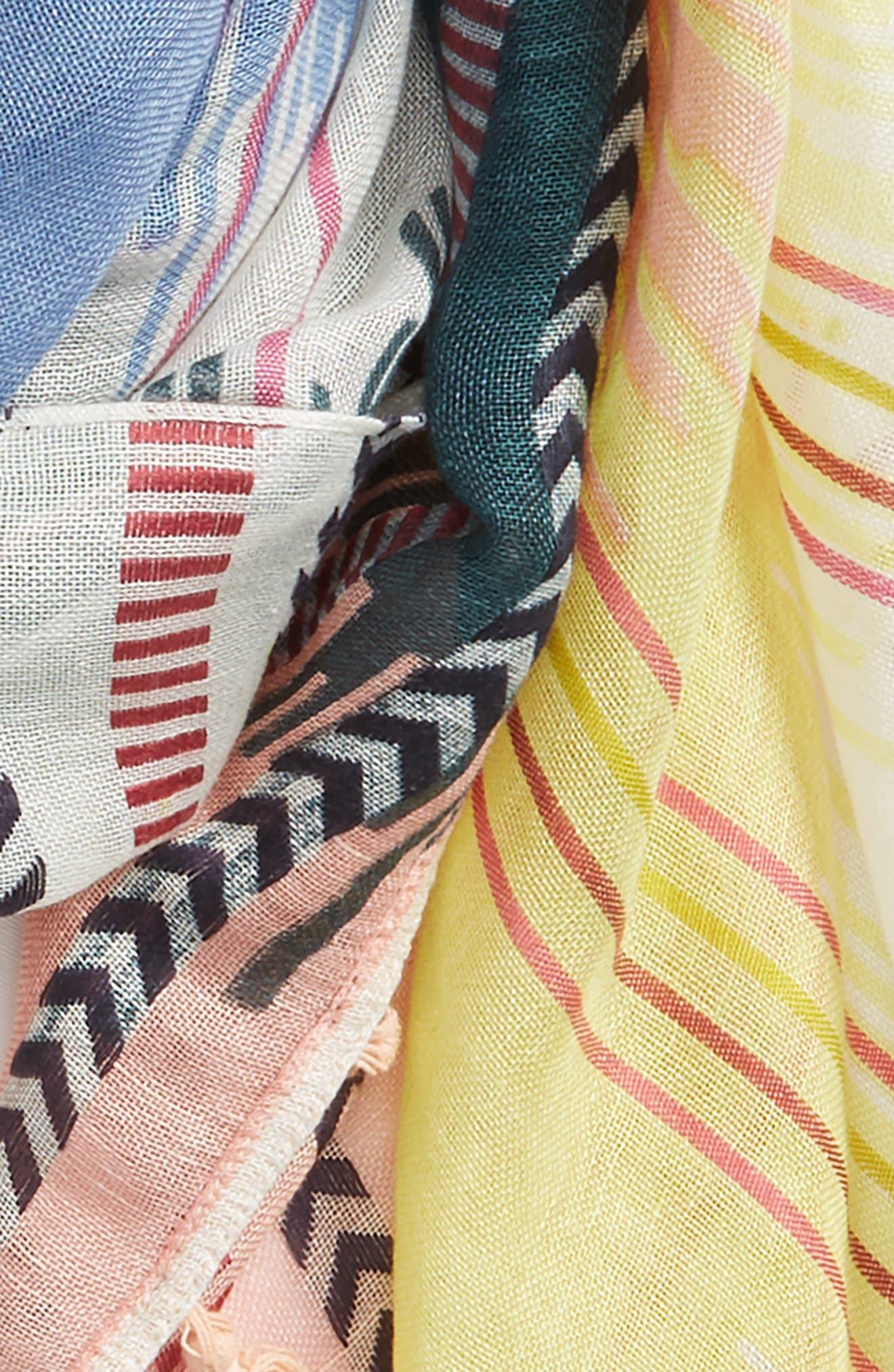 Caslon Ikat Stripe Linen Blend Scarf,                             Alternate thumbnail 3, color,                             Yellow Printed Ikat