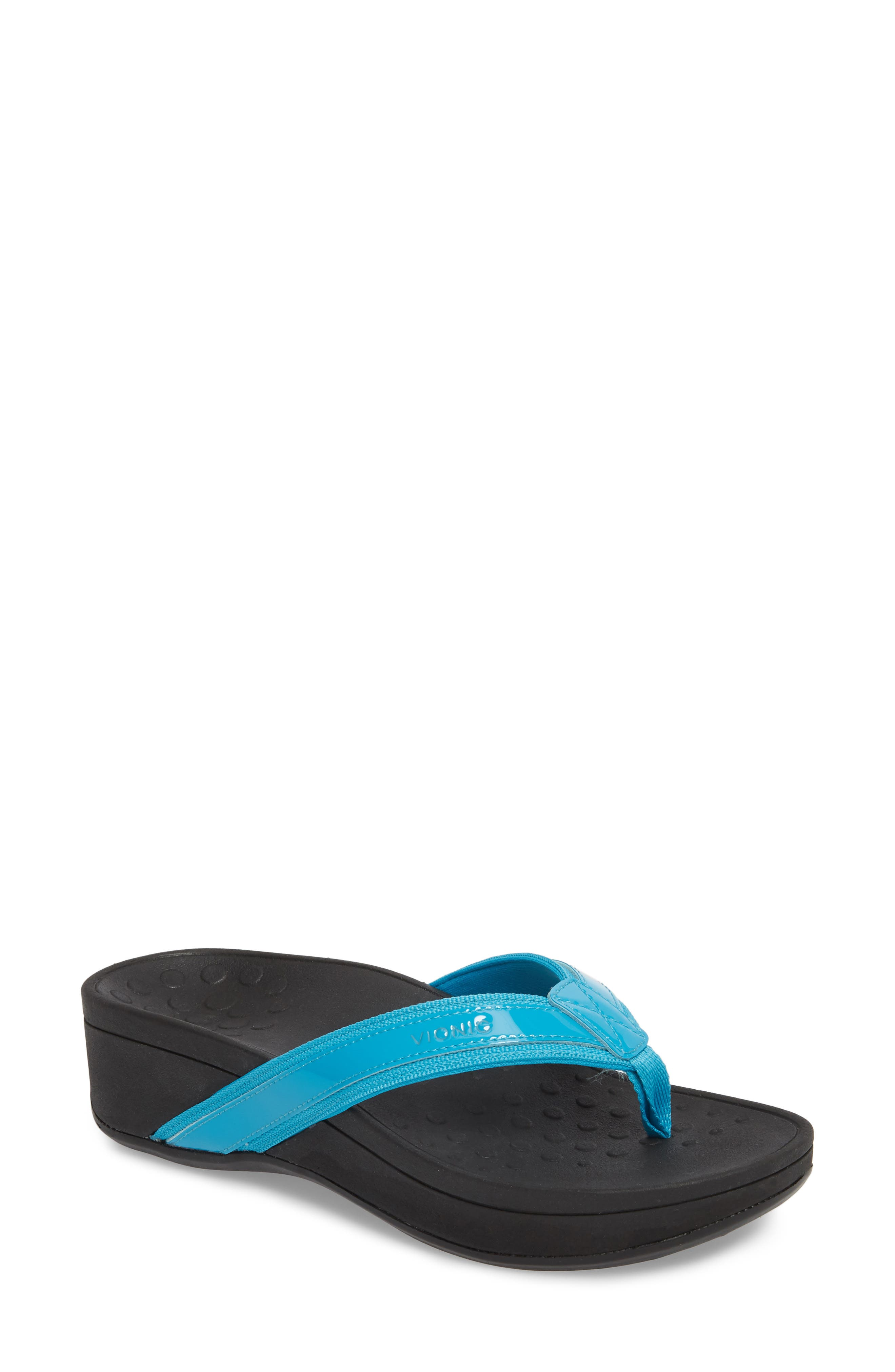 High Tide Wedge Flip Flop,                         Main,                         color, Turquoise Leather