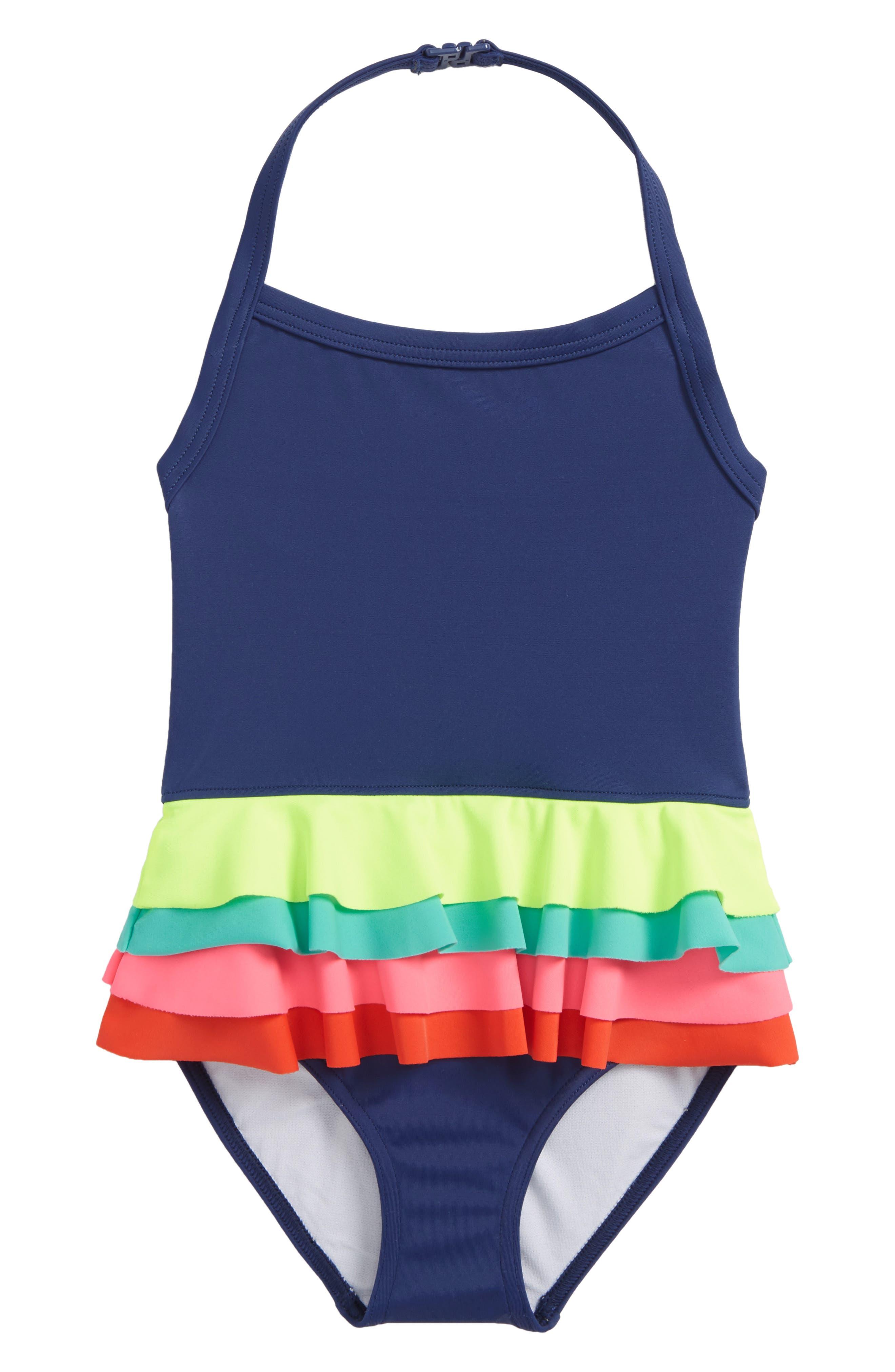 One-Piece Ruffle Swimsuit,                         Main,                         color, Deep Sea/ Rainbow