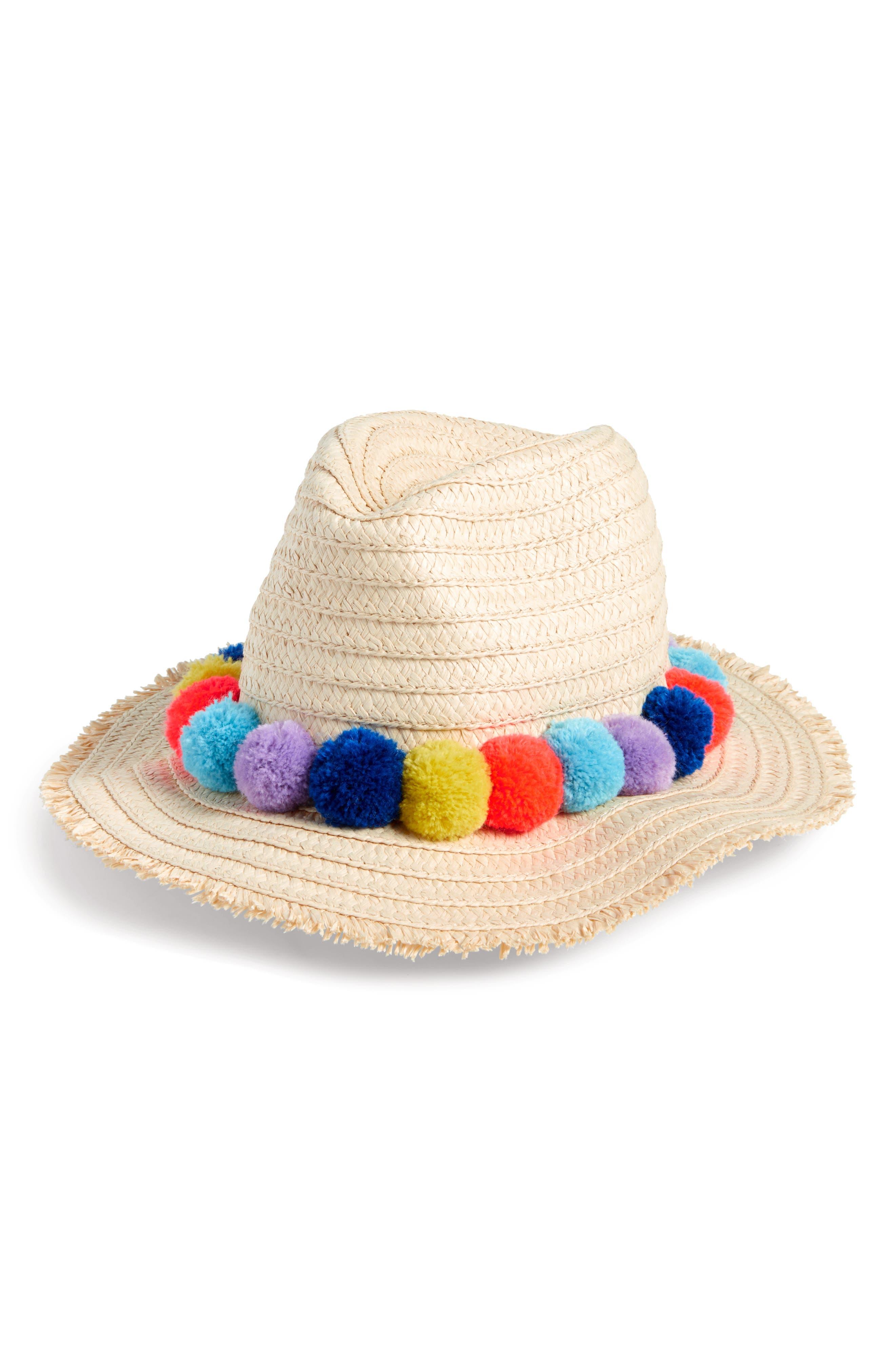 Mini Boden Pom Pom Straw Hat (Little Girls & Big Girls)