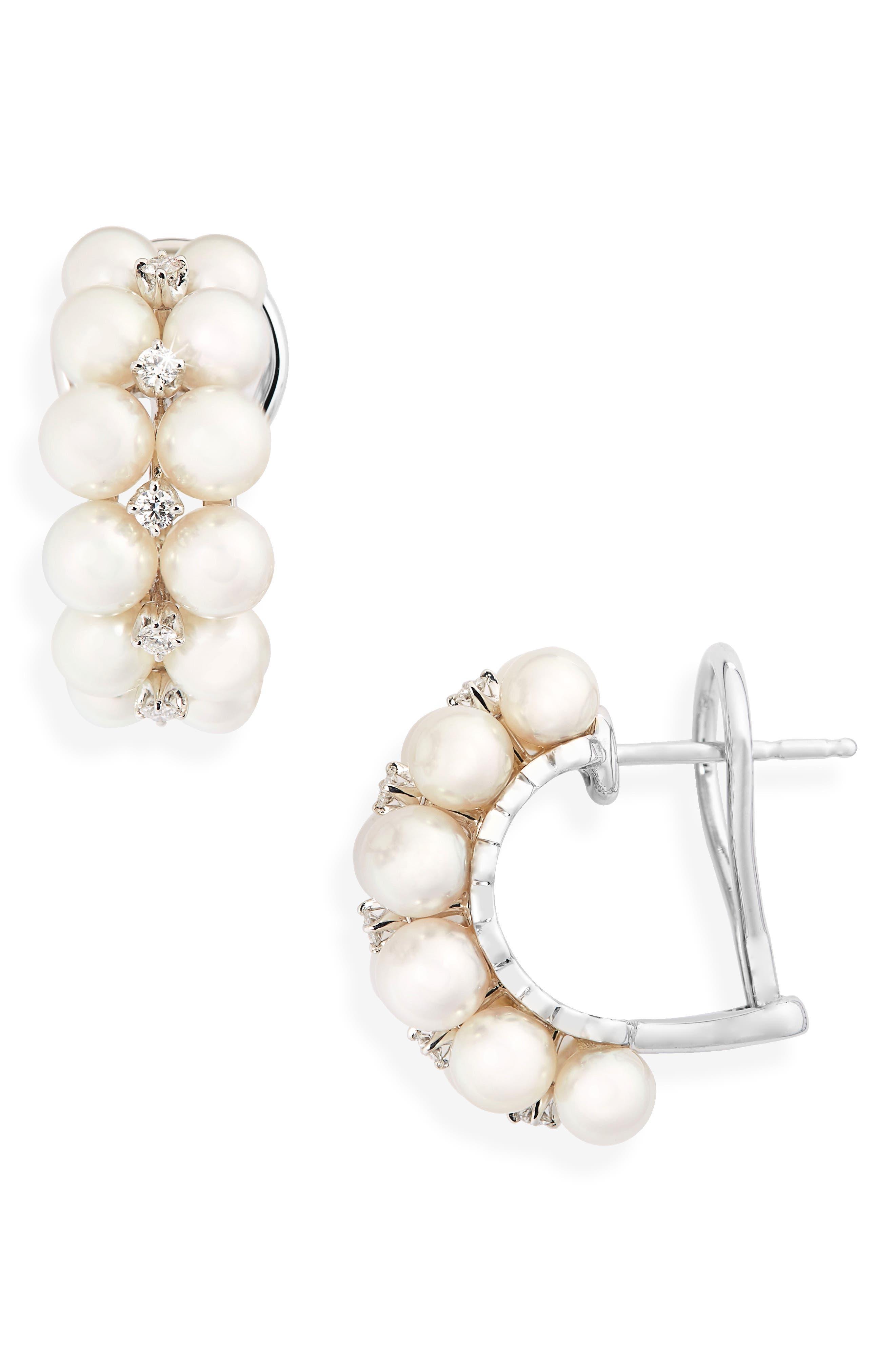 2-Row Pearl & Diamond Earrings,                             Main thumbnail 1, color,                             White Gold