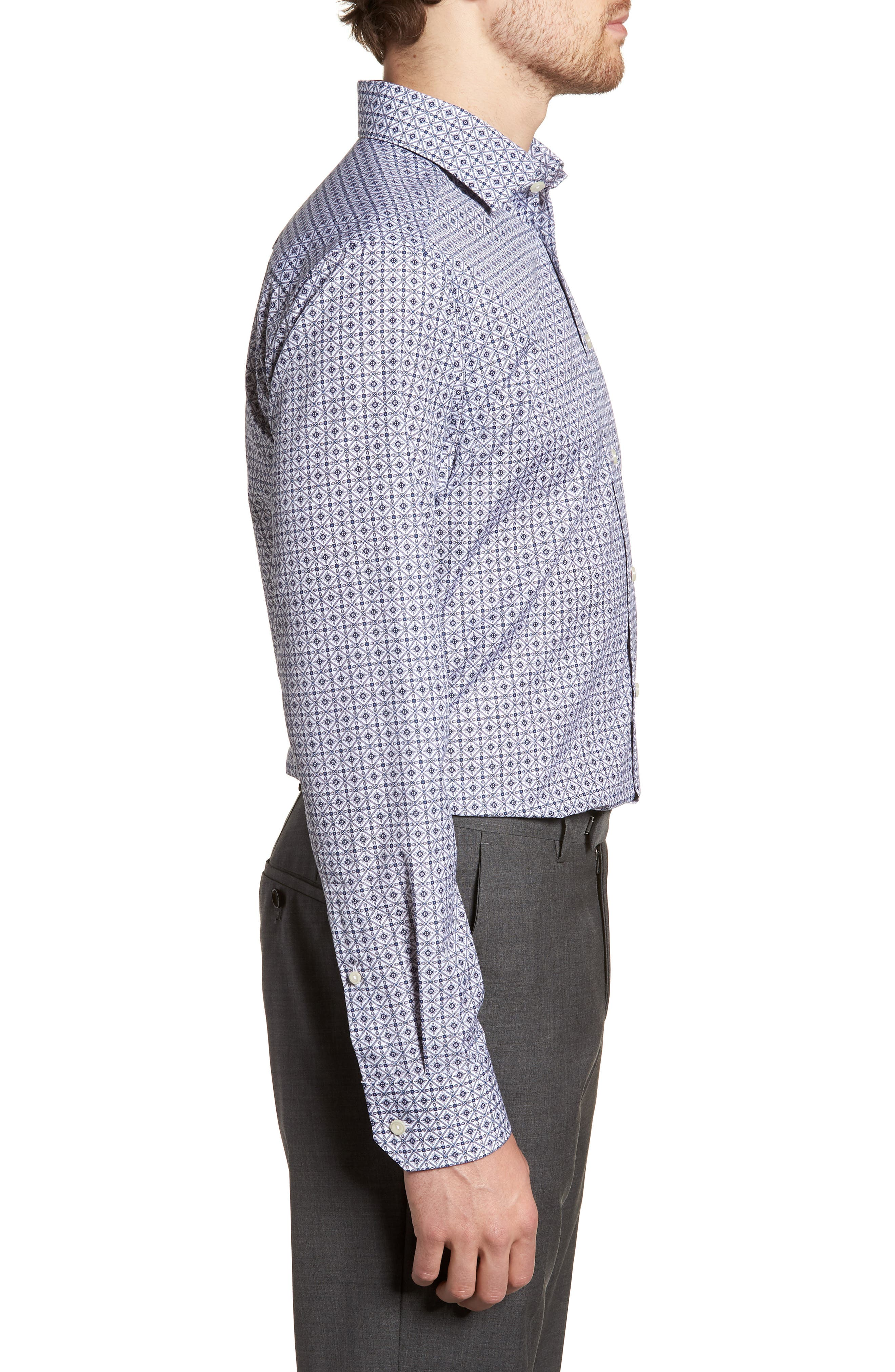 Slim Fit Medallion Print Dress Shirt,                             Alternate thumbnail 4, color,                             Blue