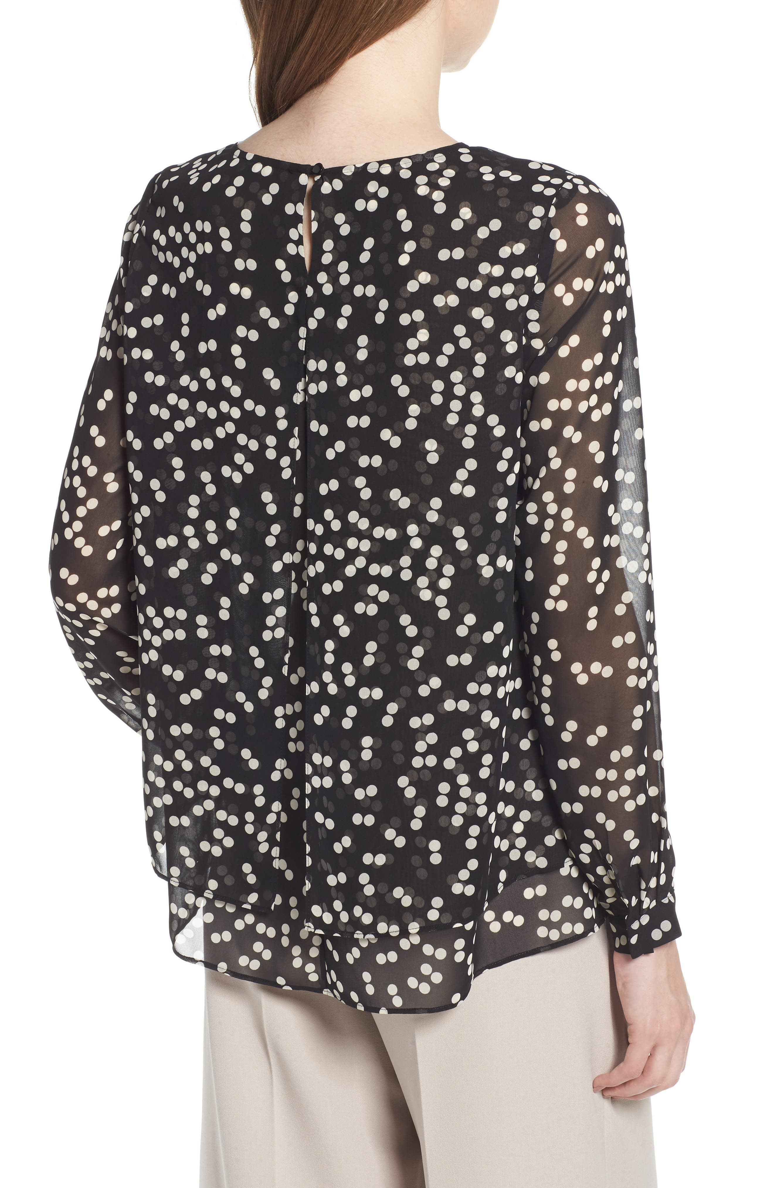 Double Layer Dot Print Blouse,                             Alternate thumbnail 2, color,                             Black/ Parchment