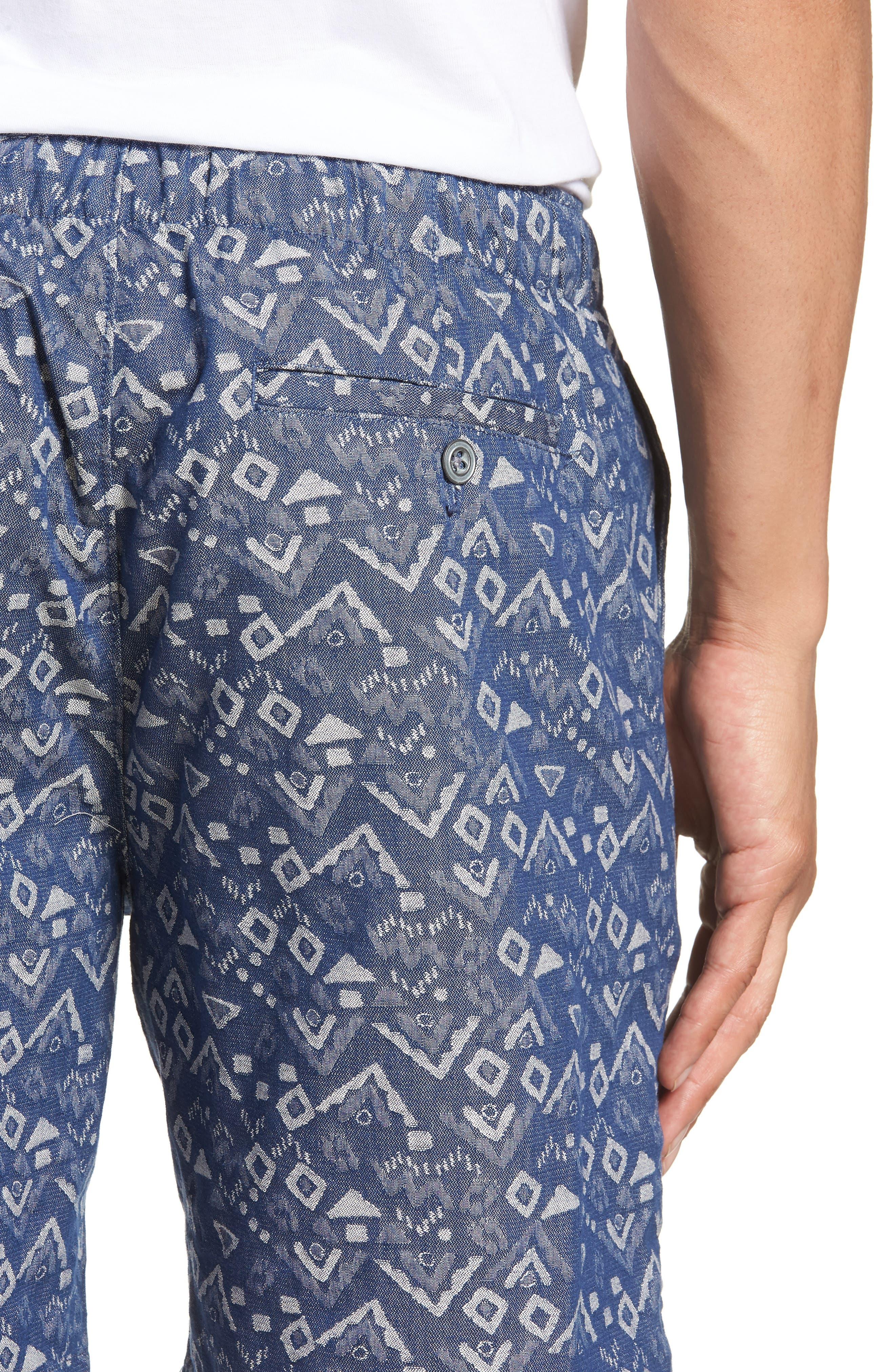 Slim Fit Print Beach Shorts,                             Alternate thumbnail 4, color,                             Triangles Jacquard