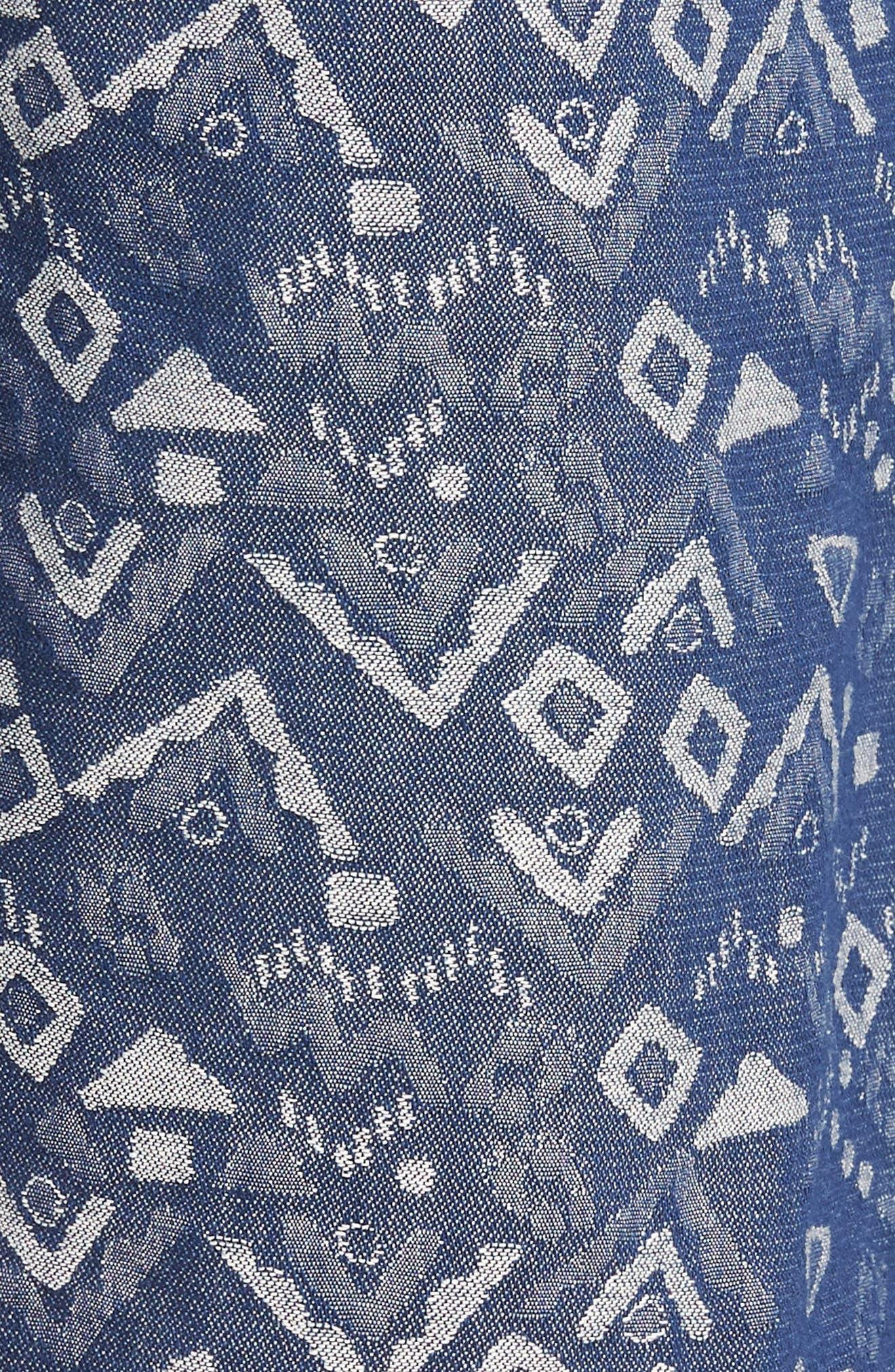 Slim Fit Print Beach Shorts,                             Alternate thumbnail 5, color,                             Triangles Jacquard