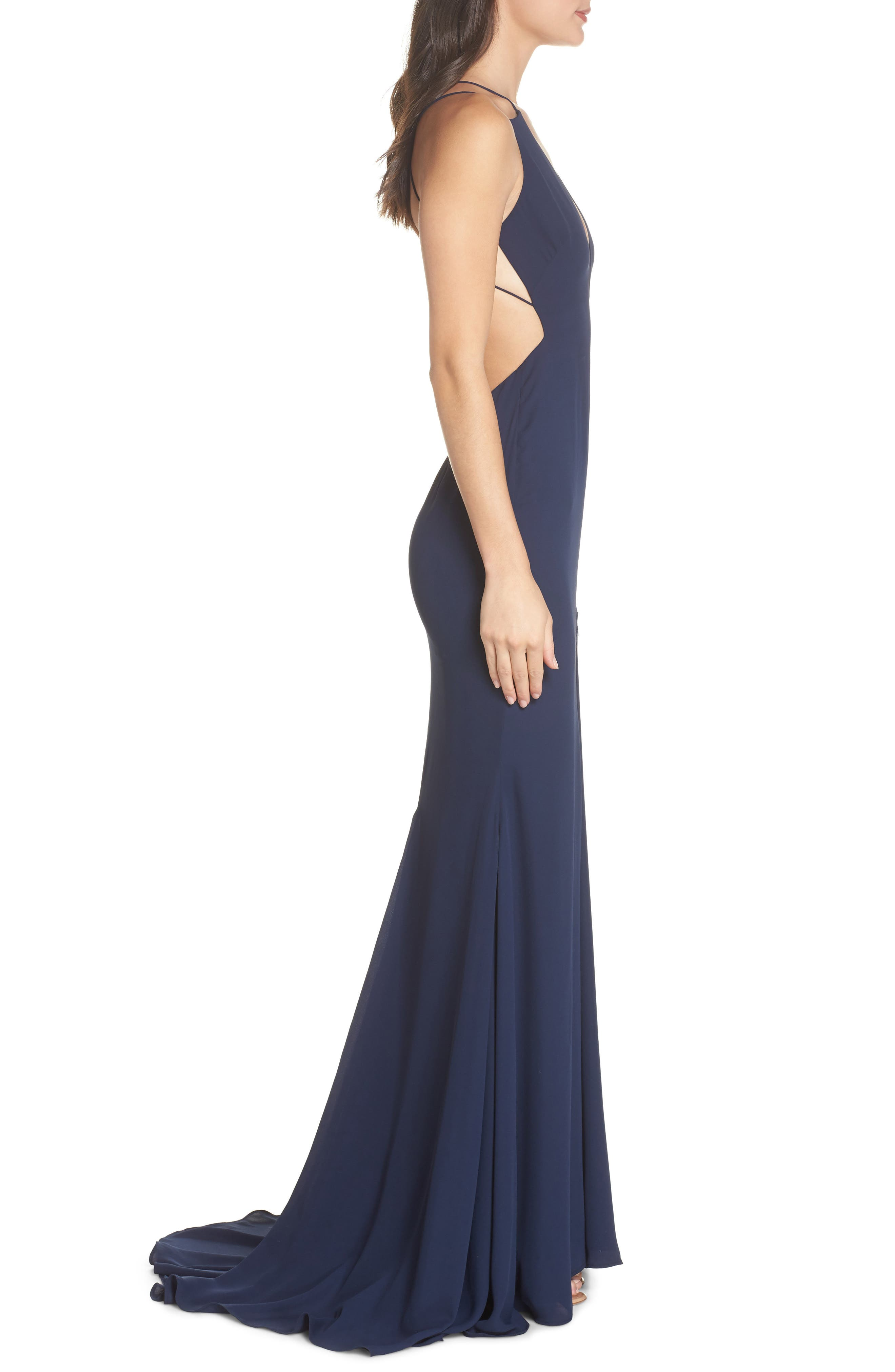Fame & Partners Surreal Dreamer Cutout Gown,                             Alternate thumbnail 3, color,                             Navy