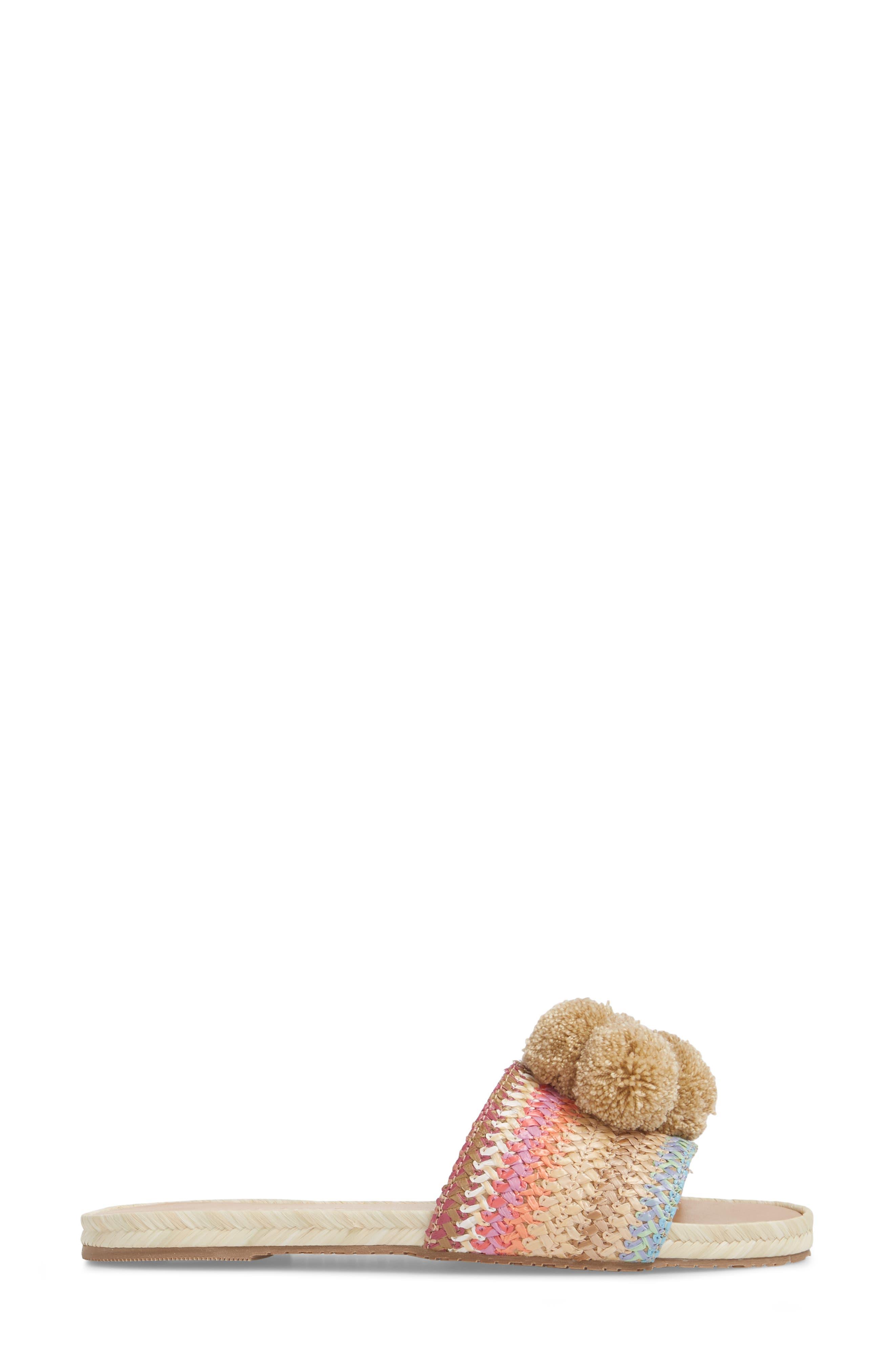Santa Helena Pom Slide Sandal,                             Alternate thumbnail 3, color,                             Bright Multi