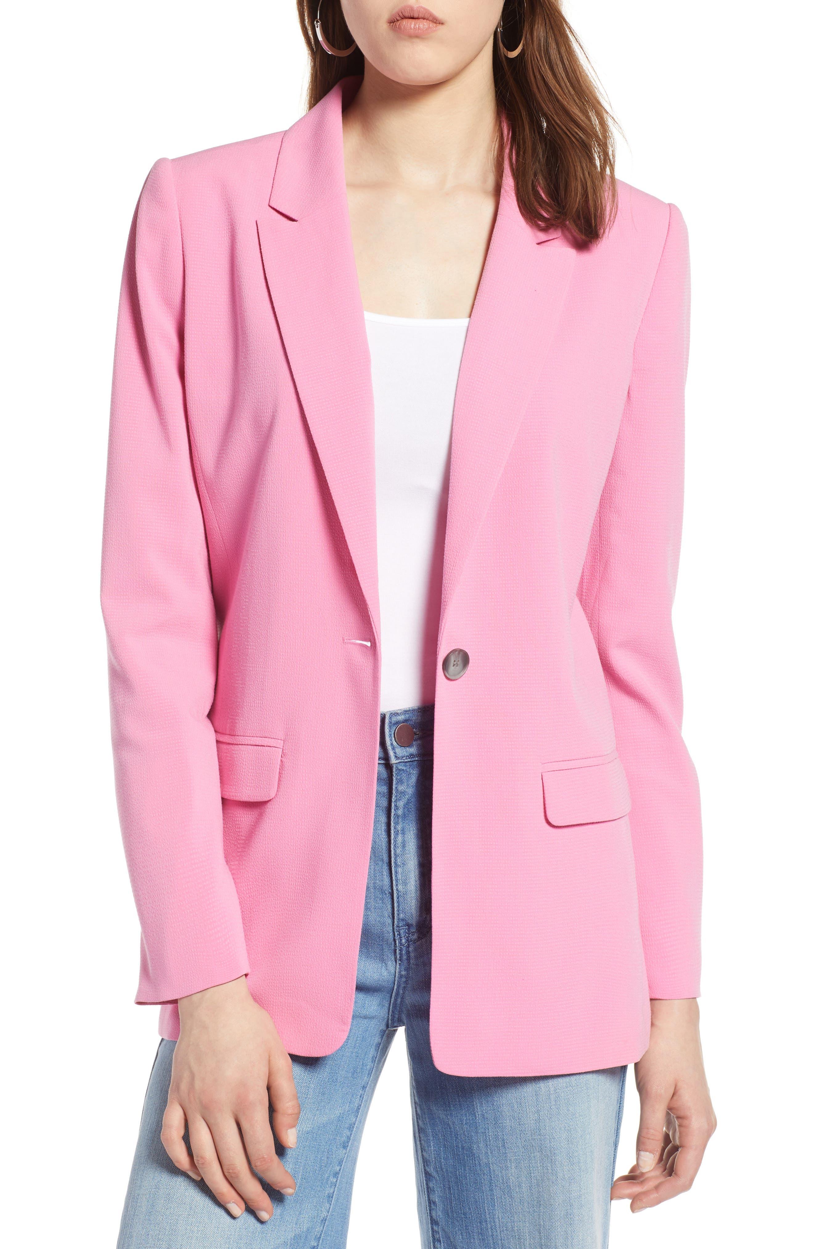 One Button Blazer,                             Main thumbnail 1, color,                             Pink Trillium