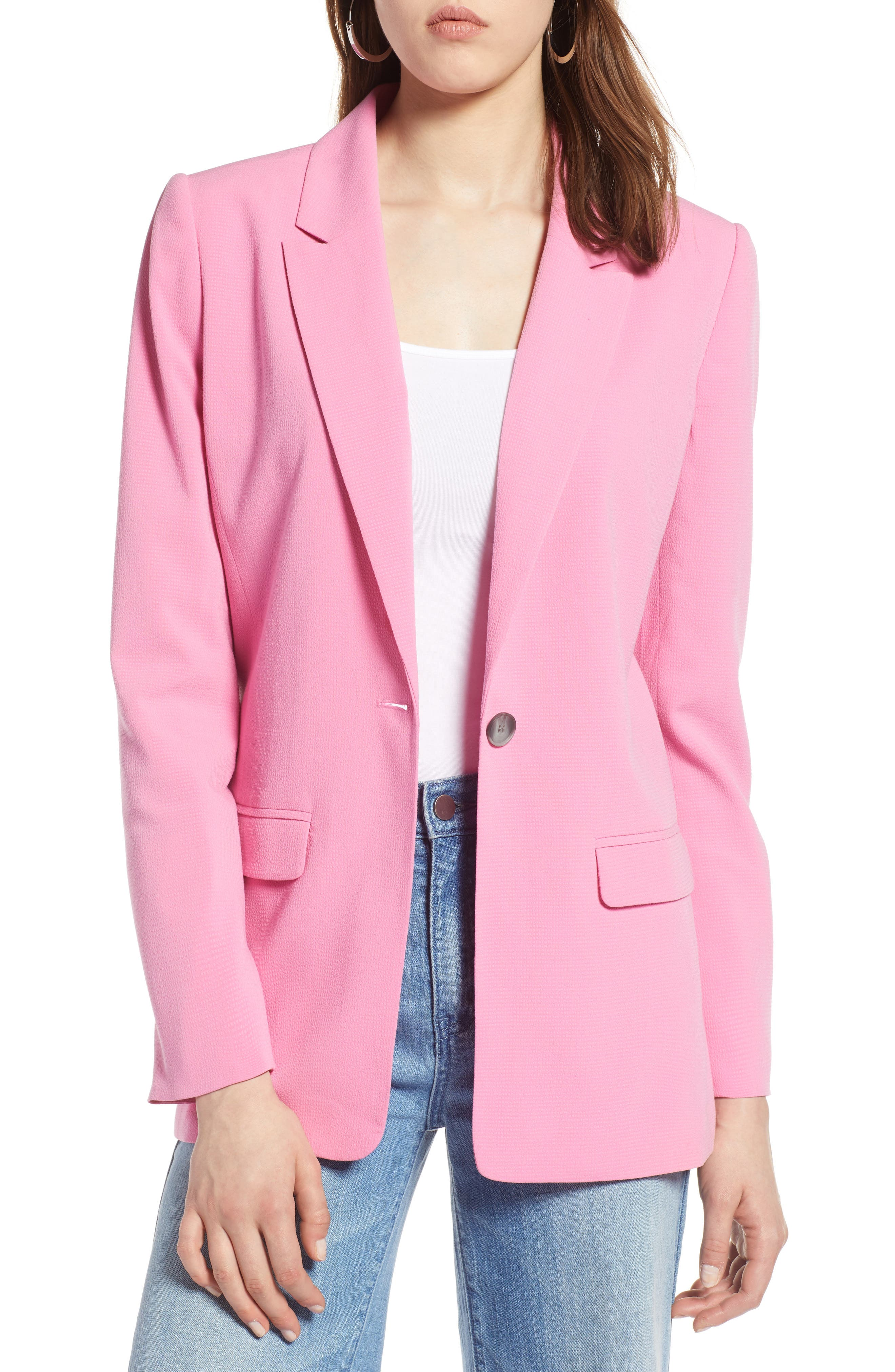 One Button Blazer,                         Main,                         color, Pink Trillium