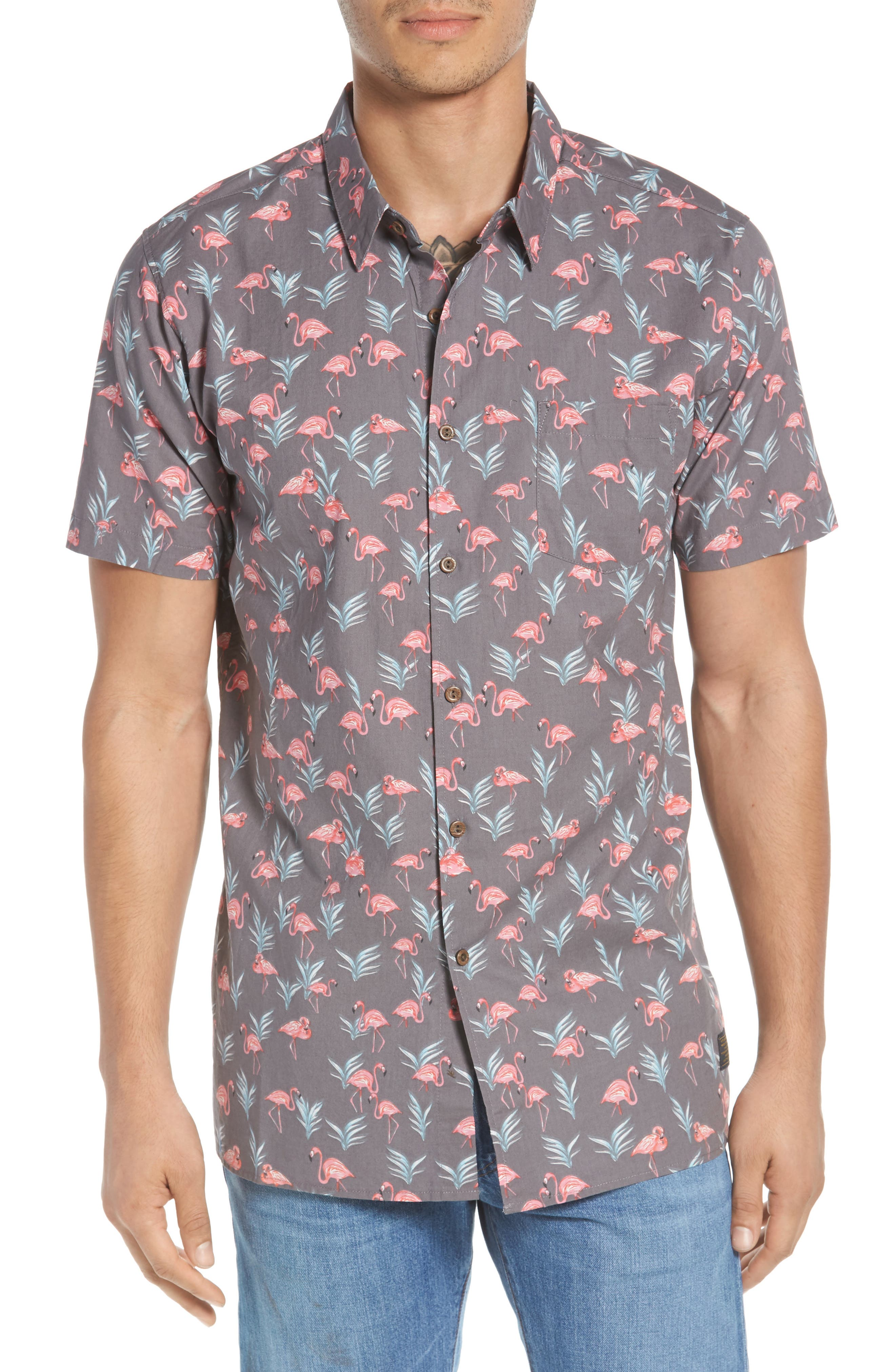 Flaminko Woven Shirt,                         Main,                         color, Black