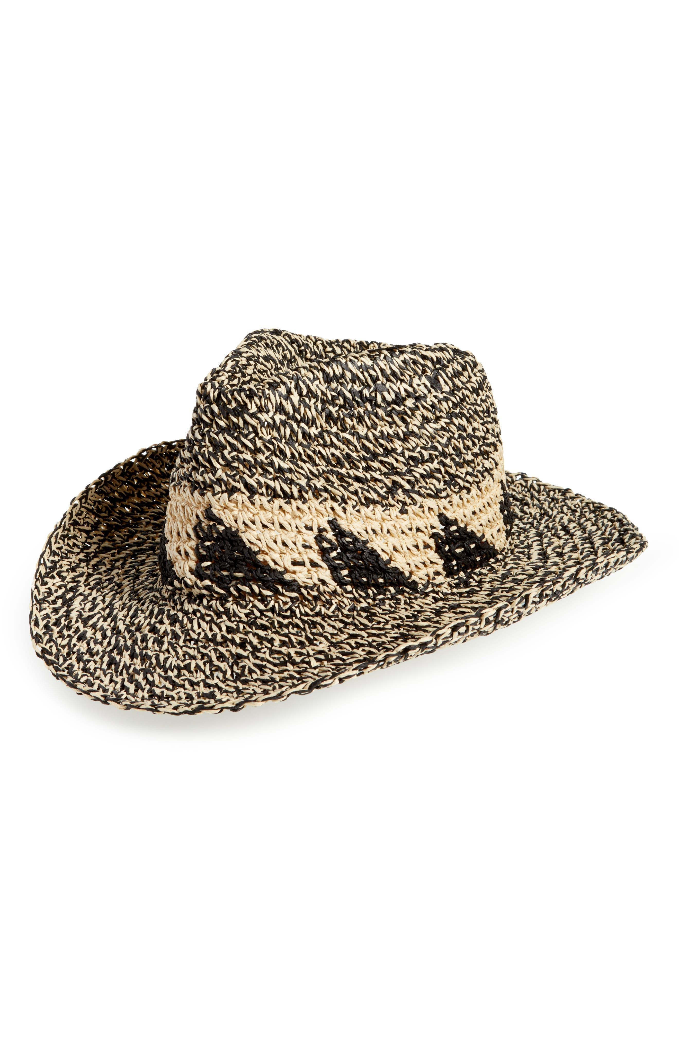Marled Straw Cowboy Hat,                             Main thumbnail 1, color,                             Natural Combo