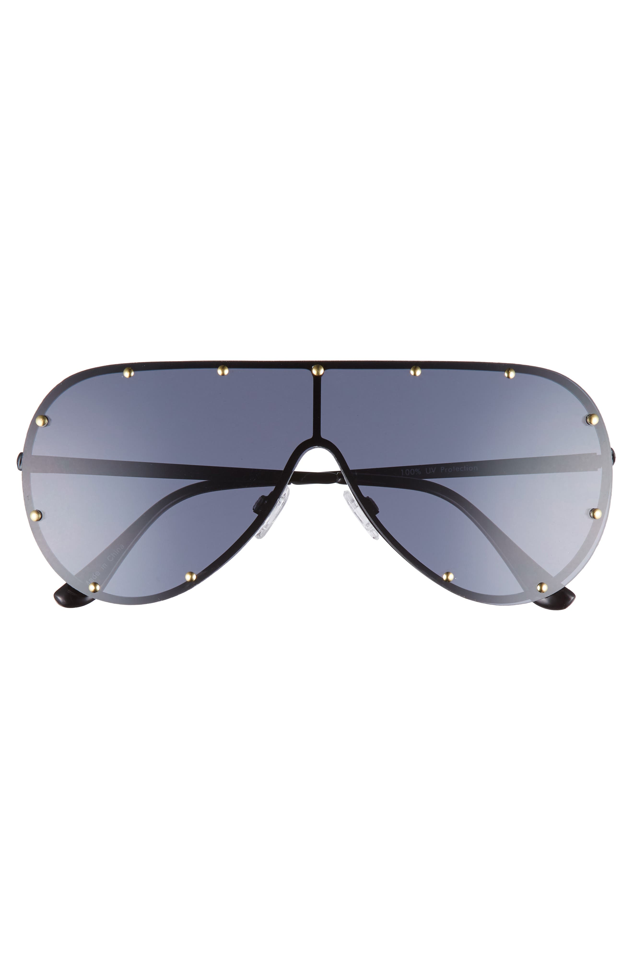 65mm Studded Shield Sunglasses,                             Alternate thumbnail 3, color,                             Black