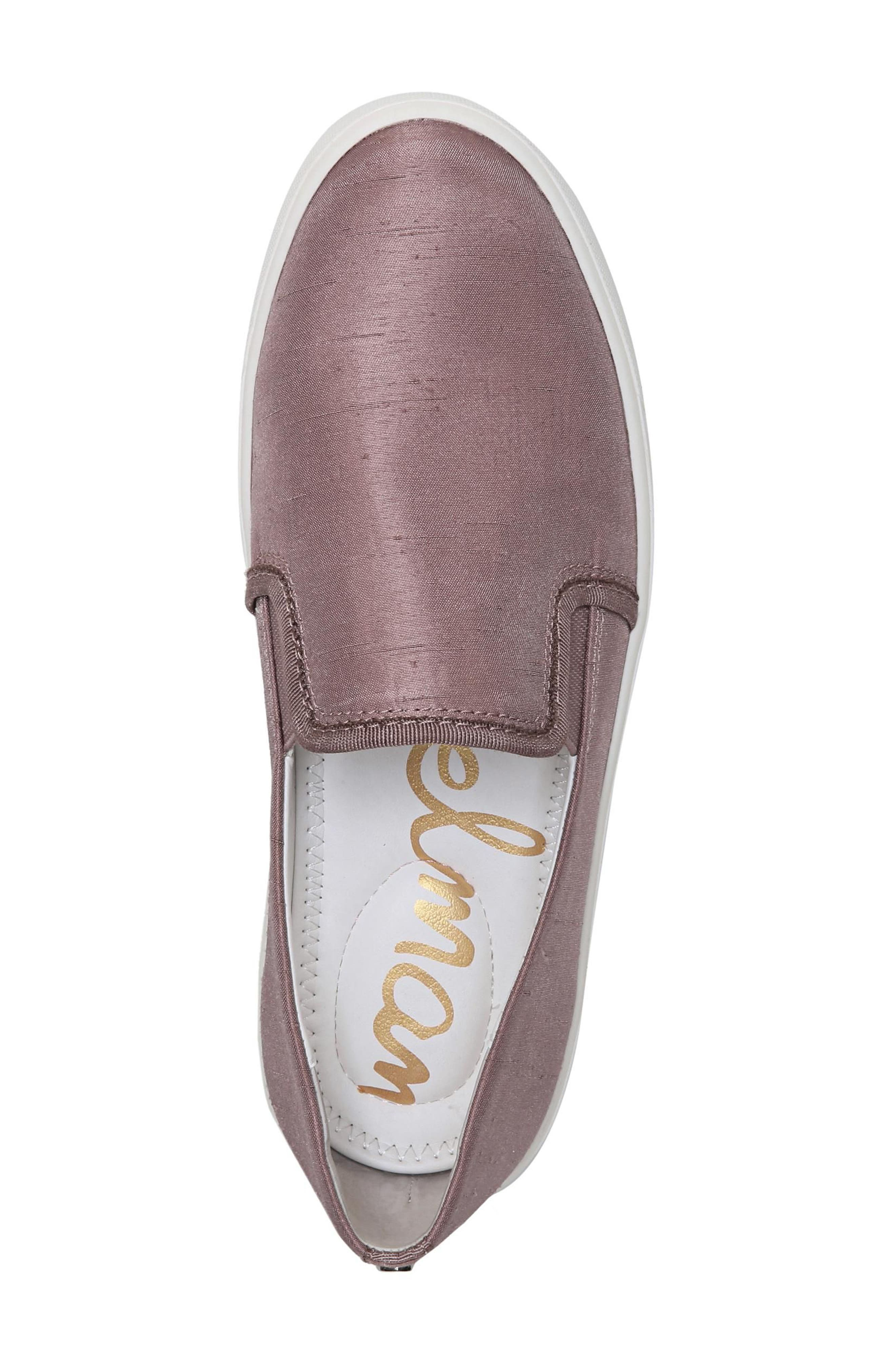 Elton Slip-On Sneaker,                             Alternate thumbnail 4, color,                             Pink Mauve Silk Fabric
