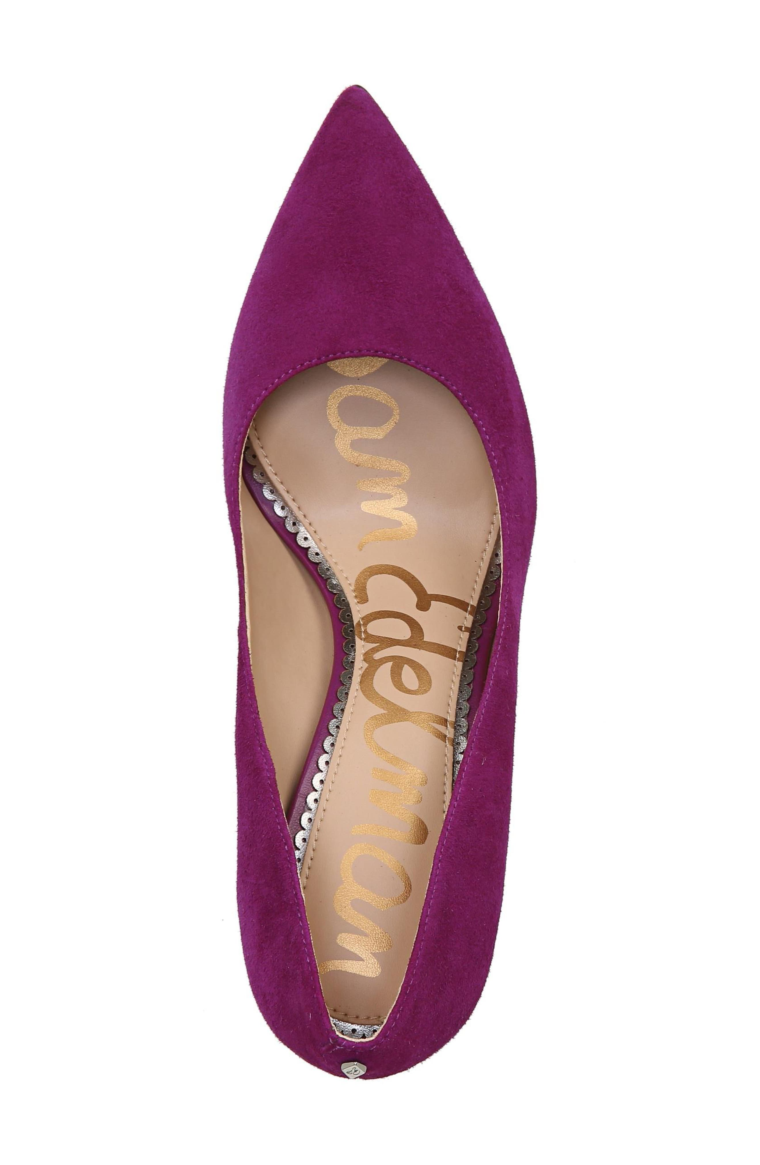 Hazel Pointy Toe Pump,                             Alternate thumbnail 4, color,                             Purple Plum Suede