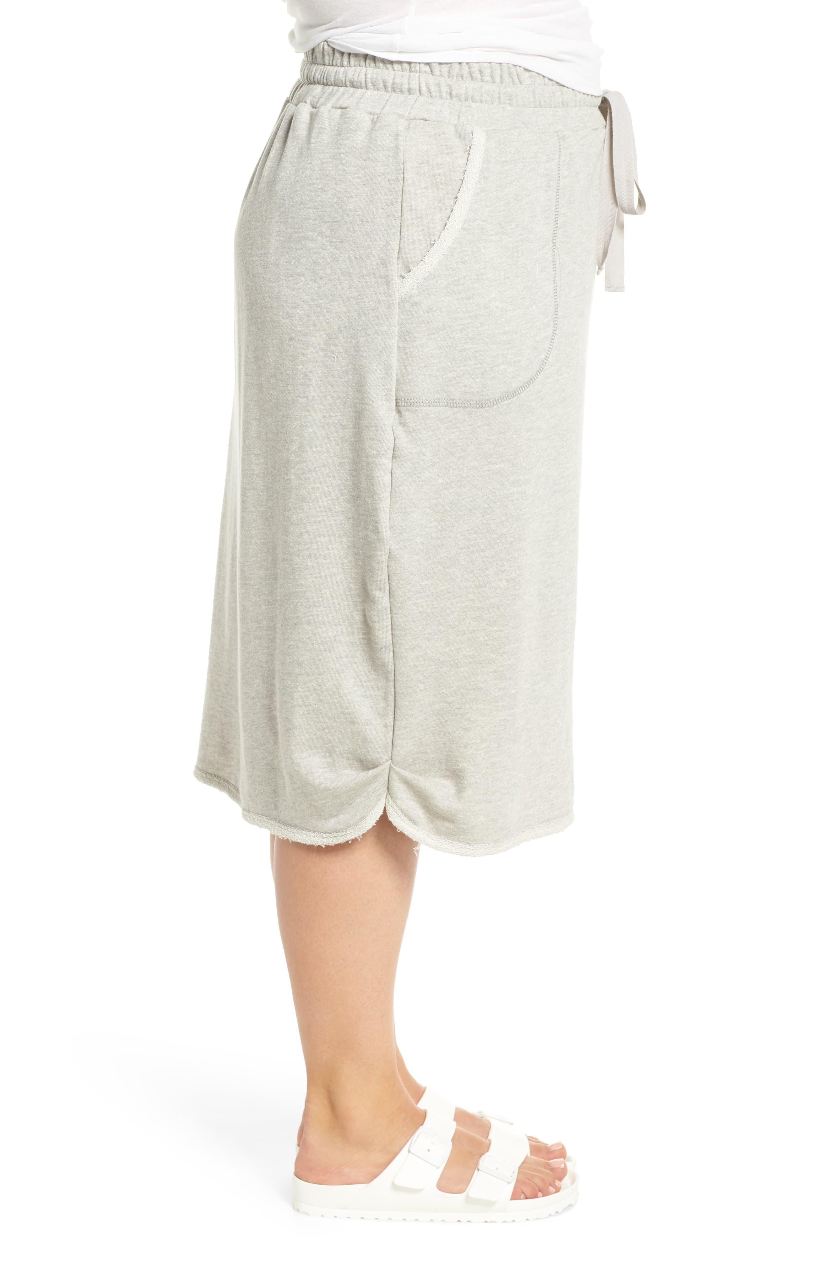 Drawstring Knit Skirt,                             Alternate thumbnail 3, color,                             Grey Heather