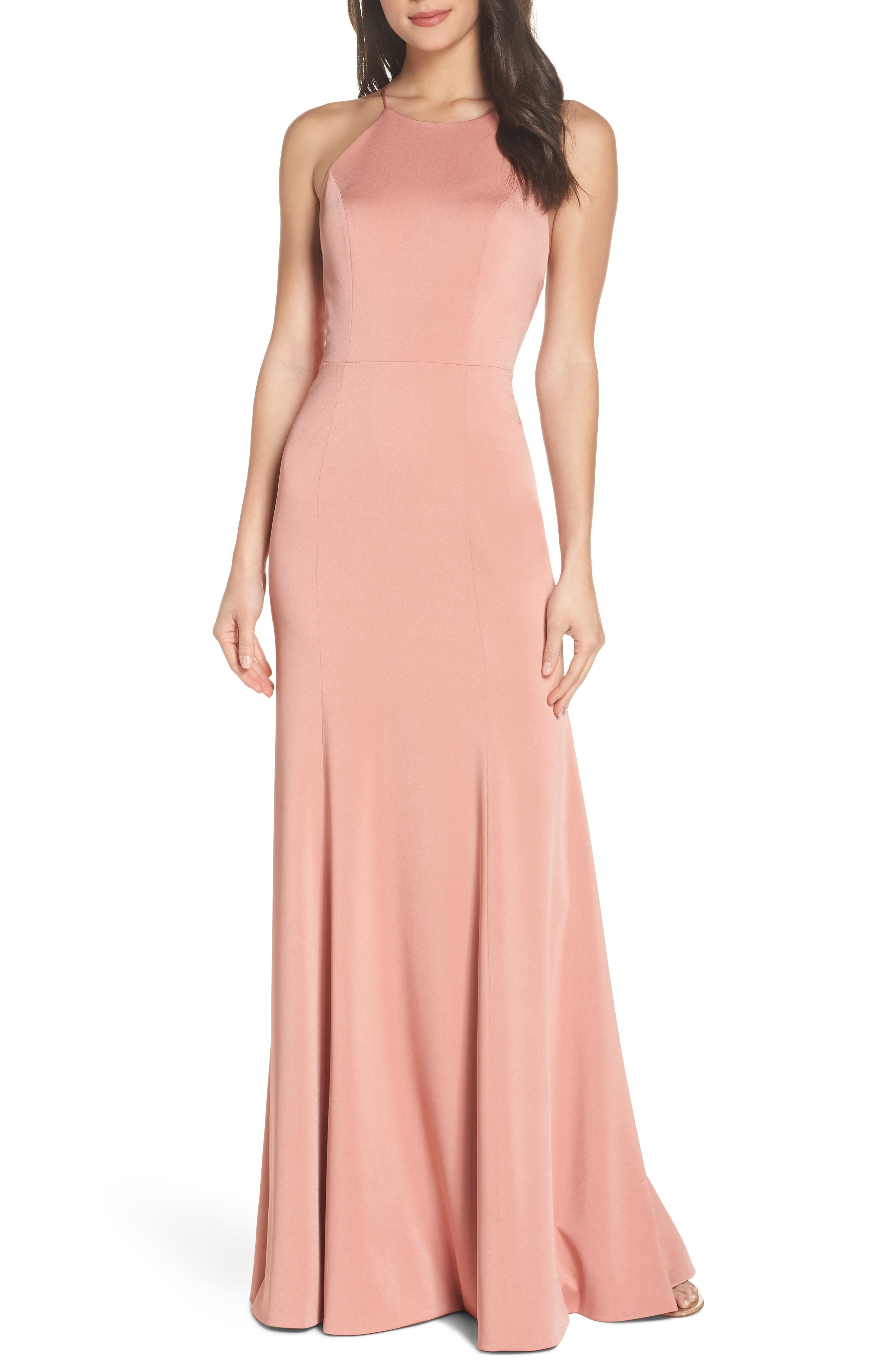 Naomi Luxe Crepe Halter Gown,                             Main thumbnail 1, color,                             Sedona Sunset