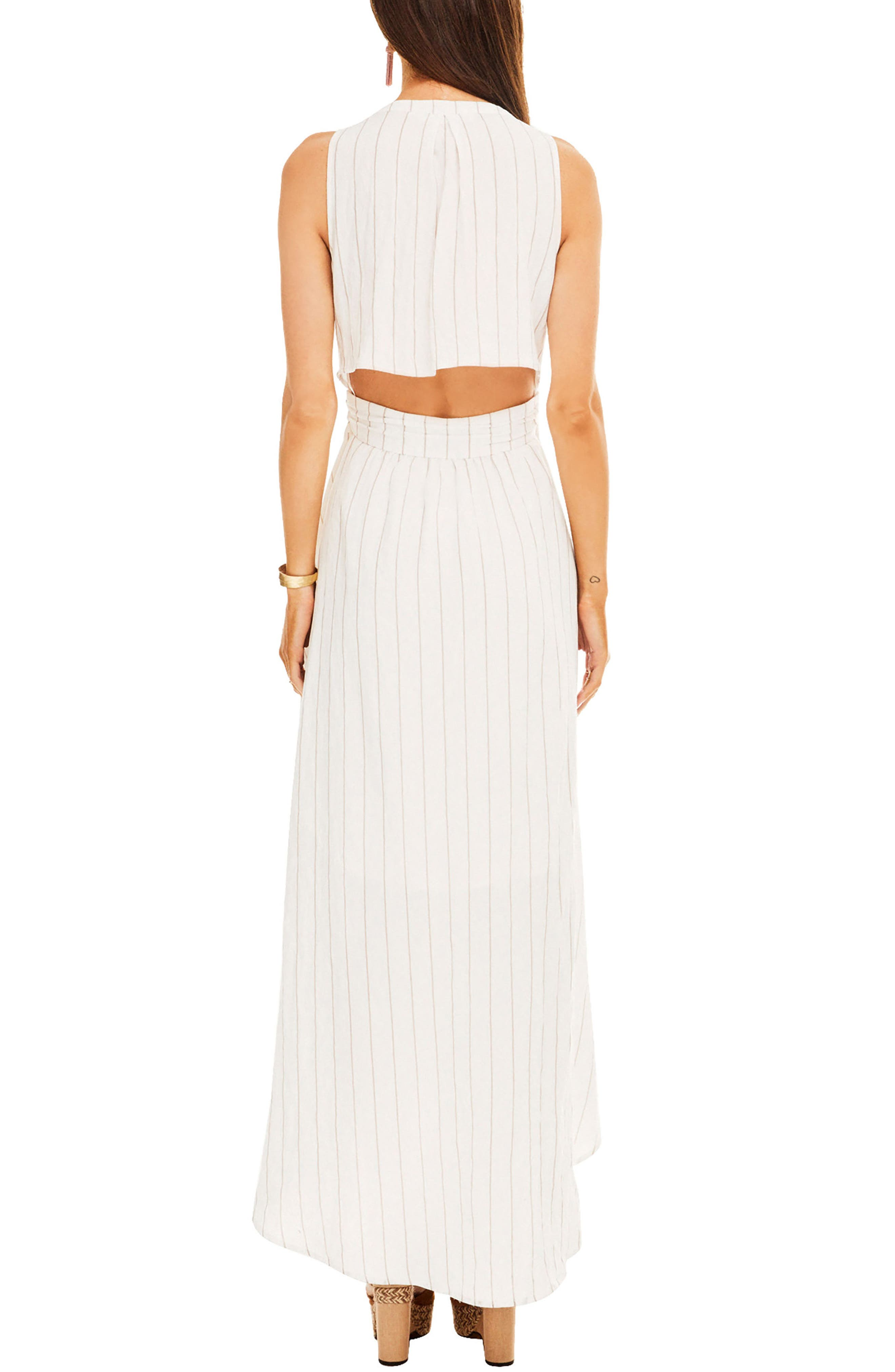 Maxi Dress,                             Alternate thumbnail 2, color,                             White-Taupe Stripe