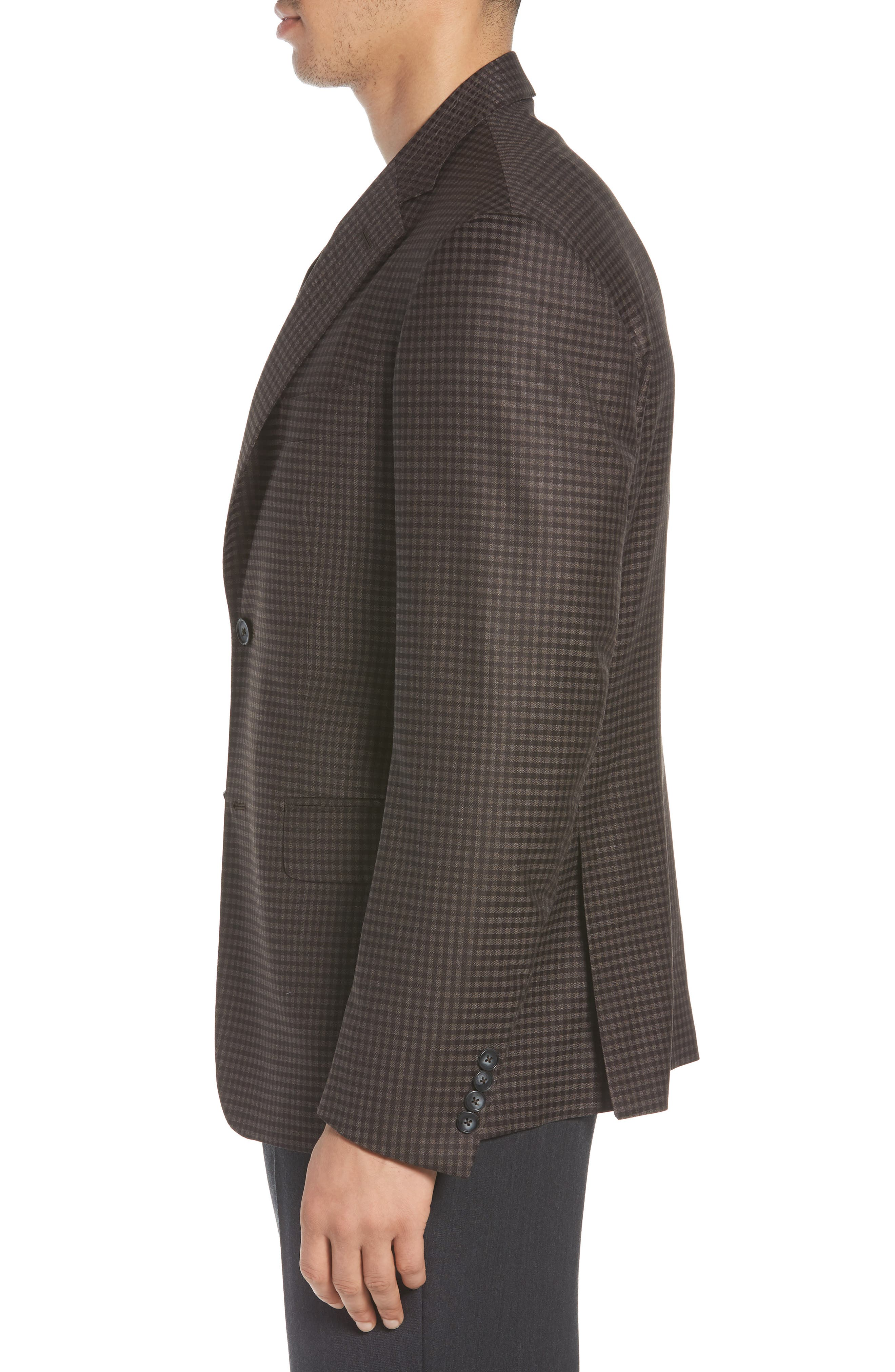 Traditional Fit Check Wool Sport Coat,                             Alternate thumbnail 5, color,                             Graphite
