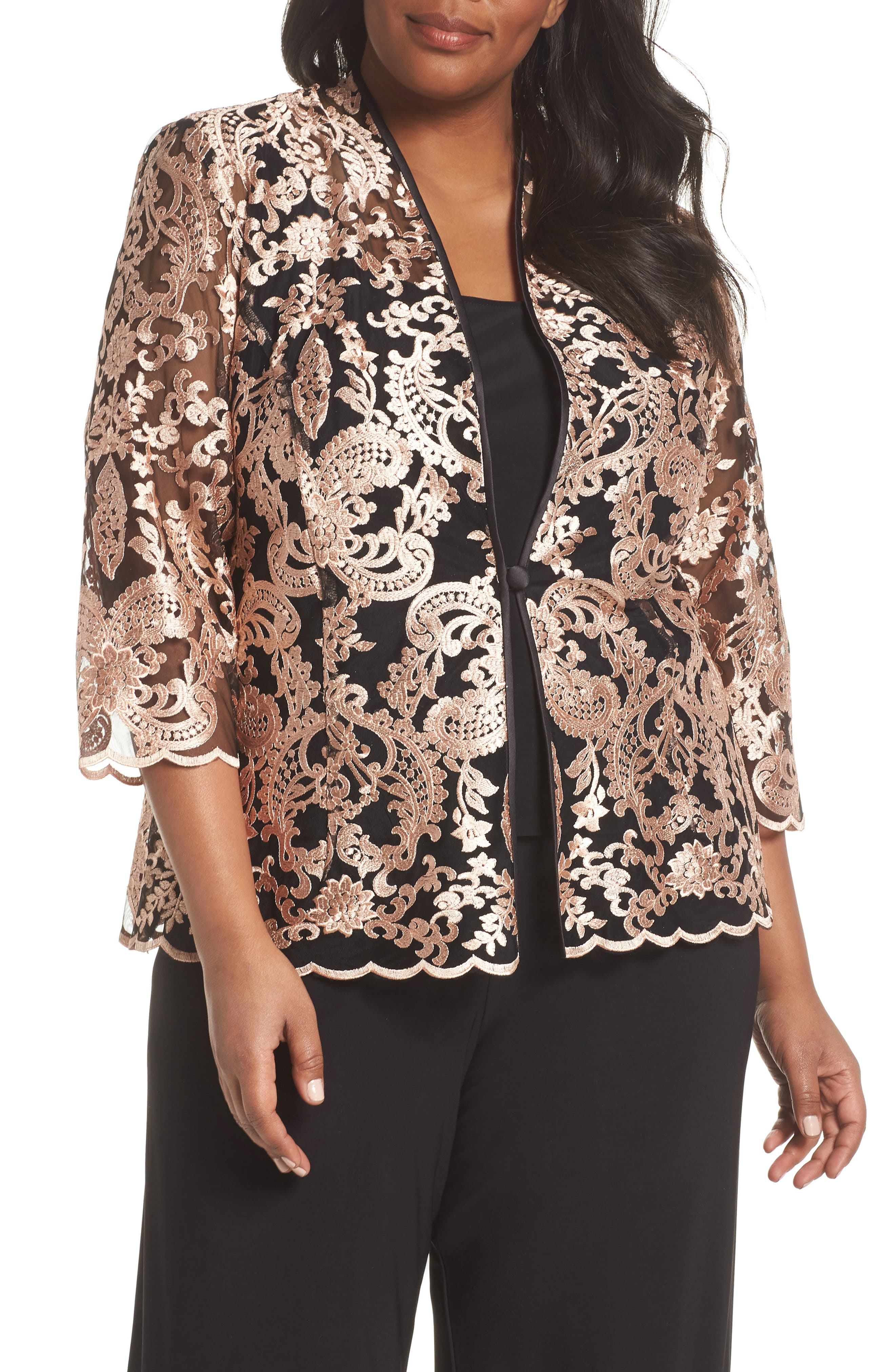 Top & Embroidered Jacket,                             Main thumbnail 1, color,                             Black/ Coral