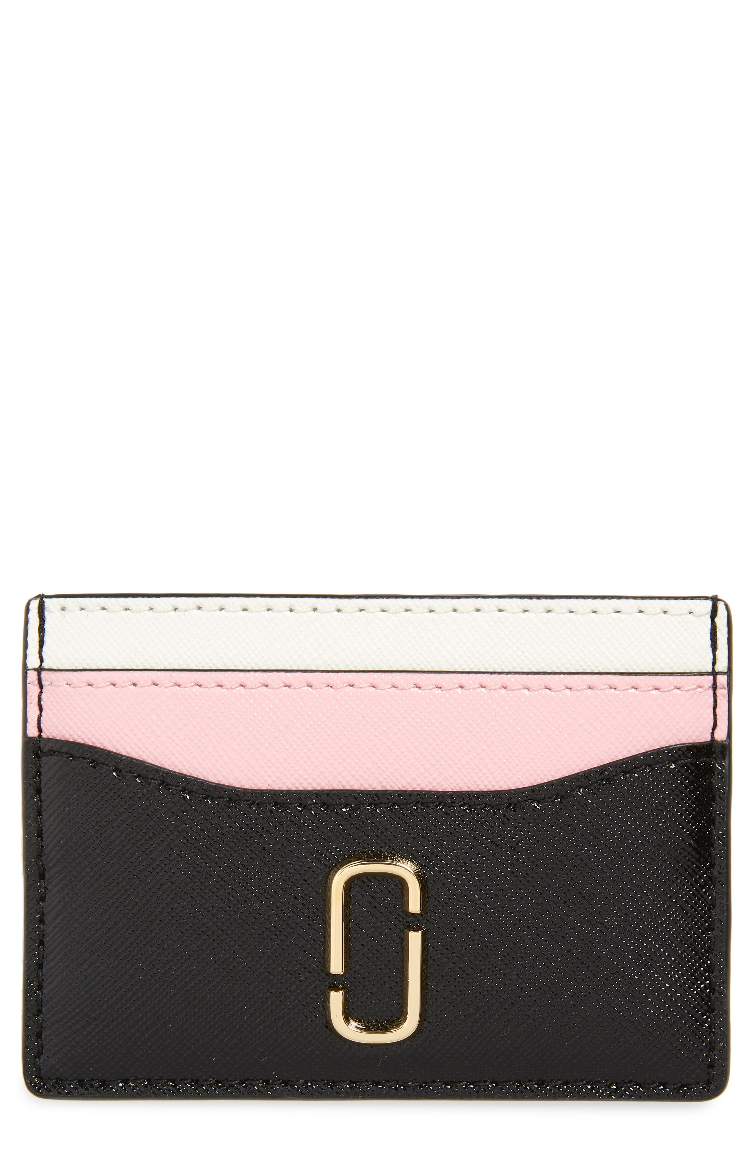 Snapshot Leather Card Case,                             Main thumbnail 1, color,                             Black/ Baby Pink