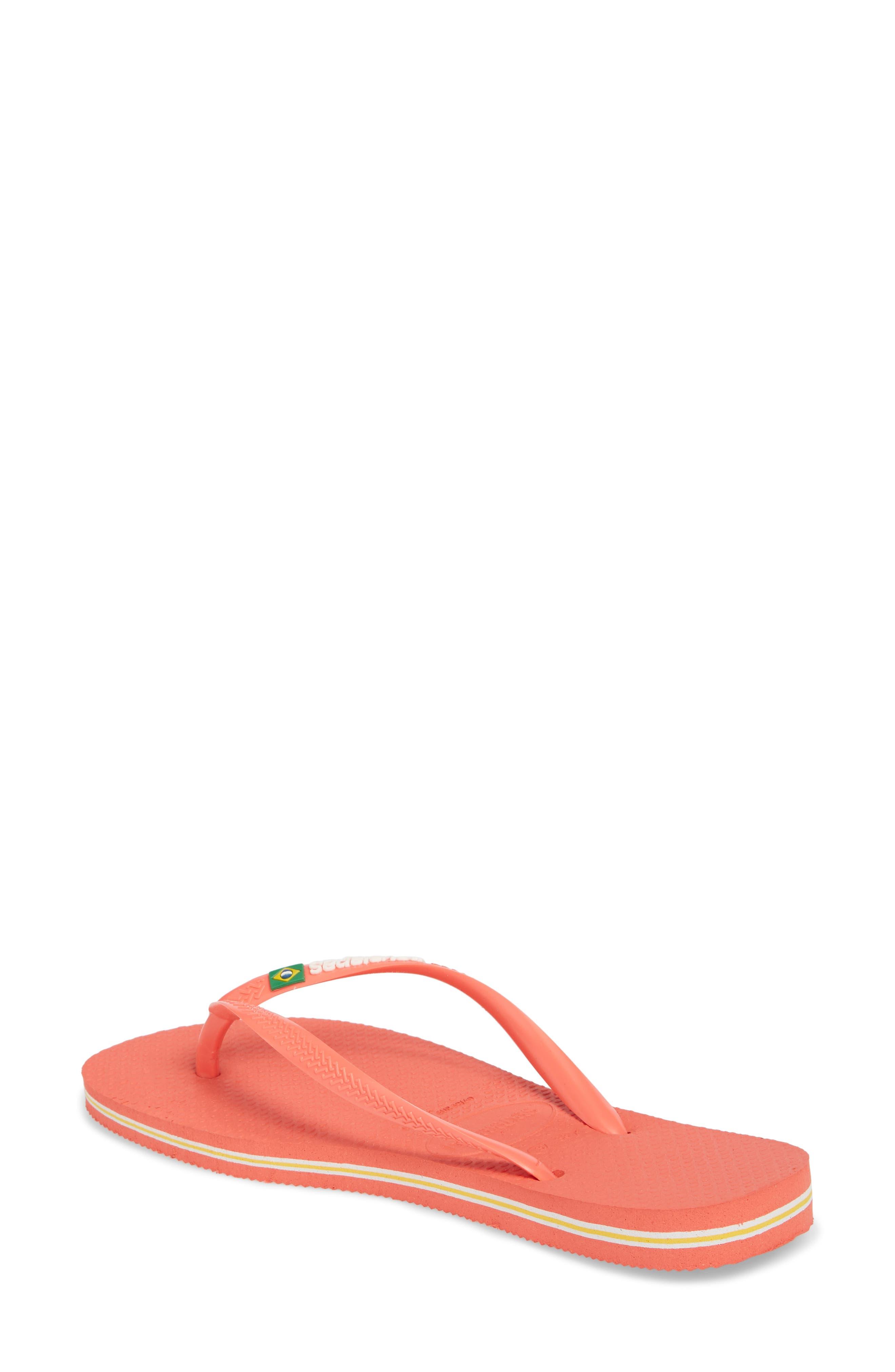 Havianas Slim Brazil Flip Flop,                             Alternate thumbnail 2, color,                             Coral