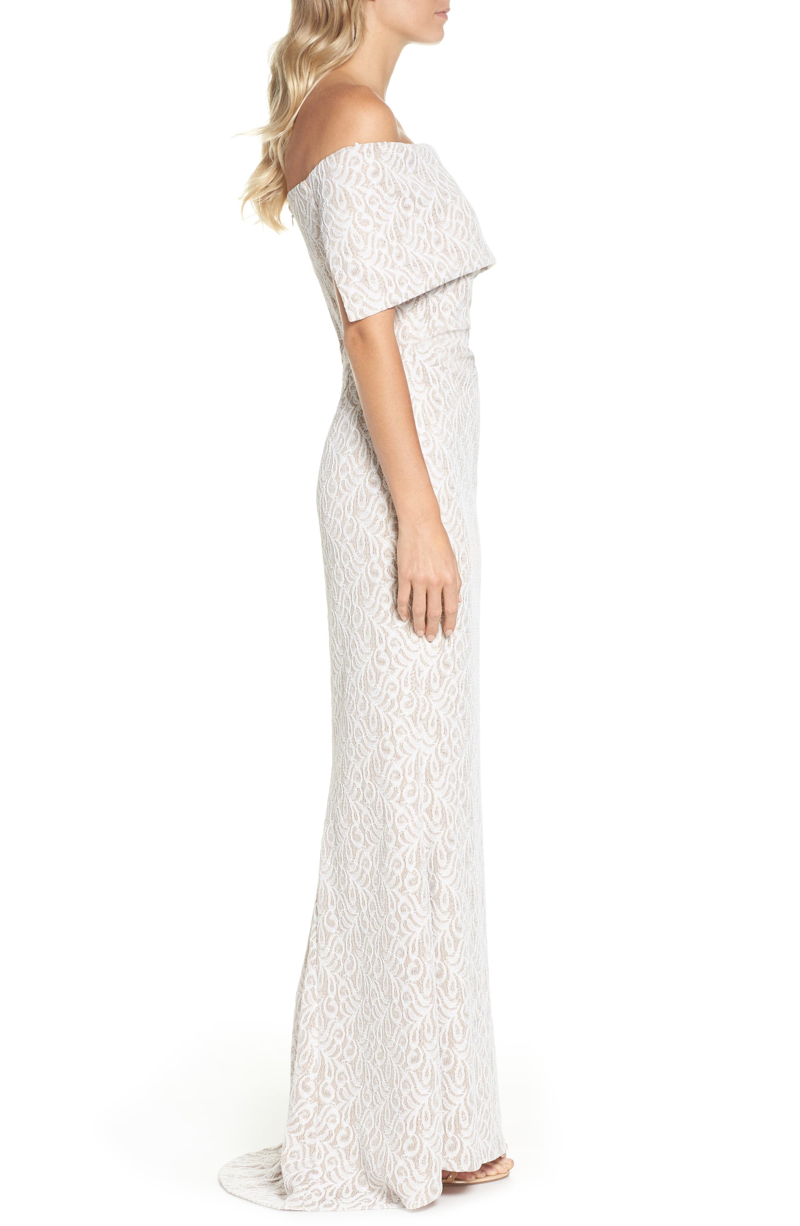 Off the Shoulder Lace Trumpet Gown,                             Alternate thumbnail 3, color,                             Ivory Beige