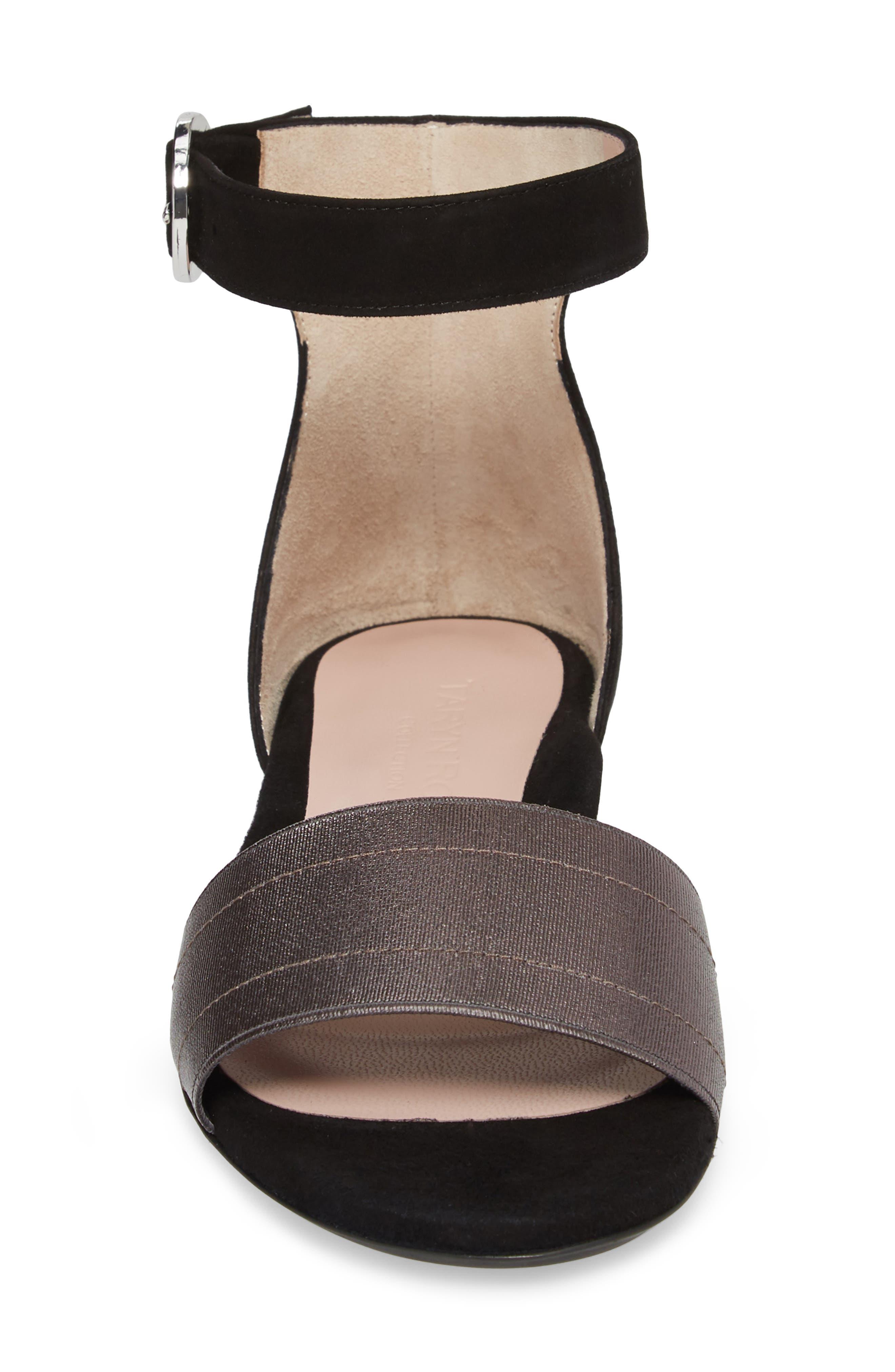 Donati Ankle Strap Sandal,                             Alternate thumbnail 4, color,                             Black/ Gunmetal Suede