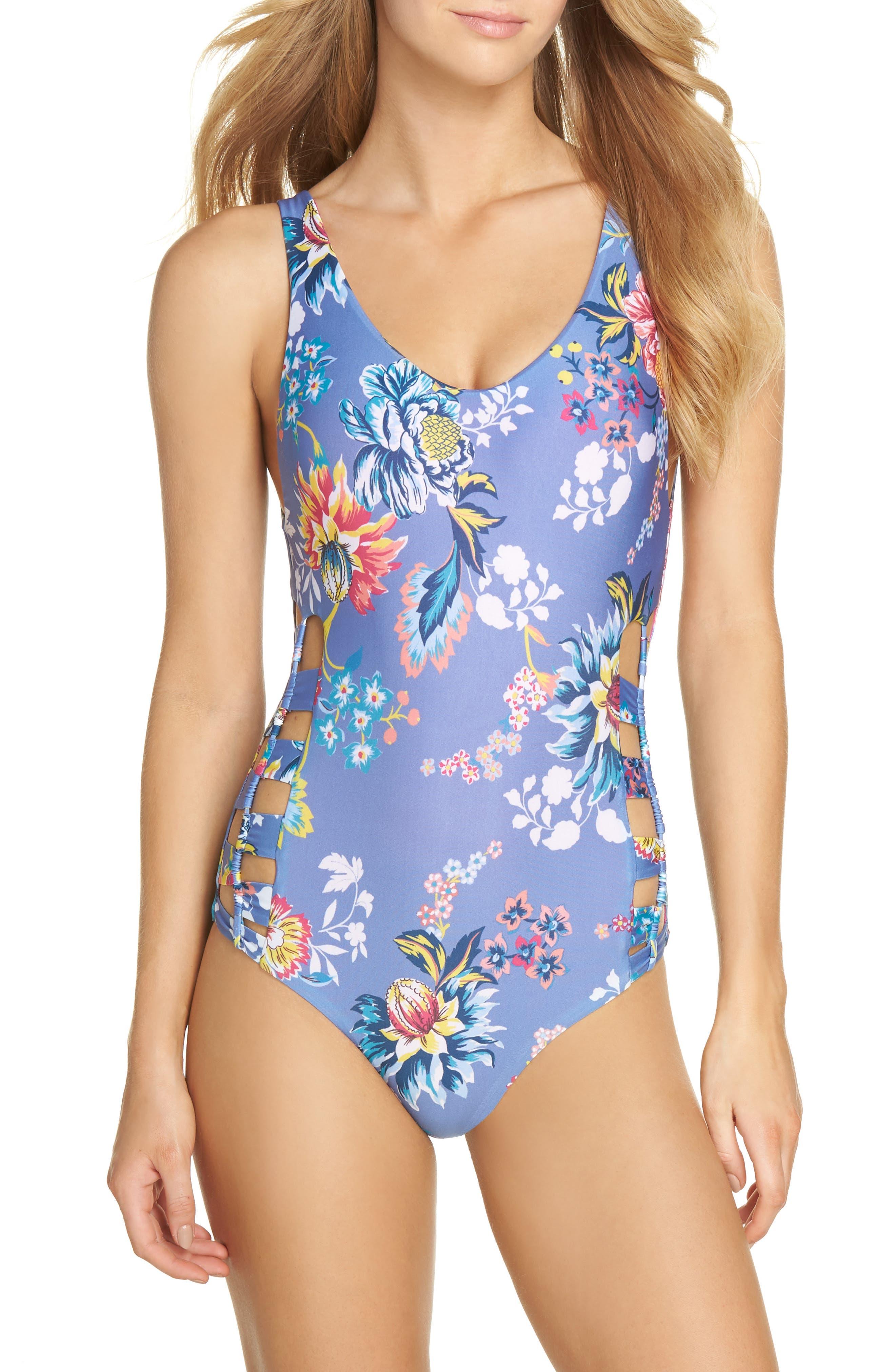 Victorian Garden Reversible One-Piece Swimsuit,                             Main thumbnail 1, color,                             Purple/ Blue Multi