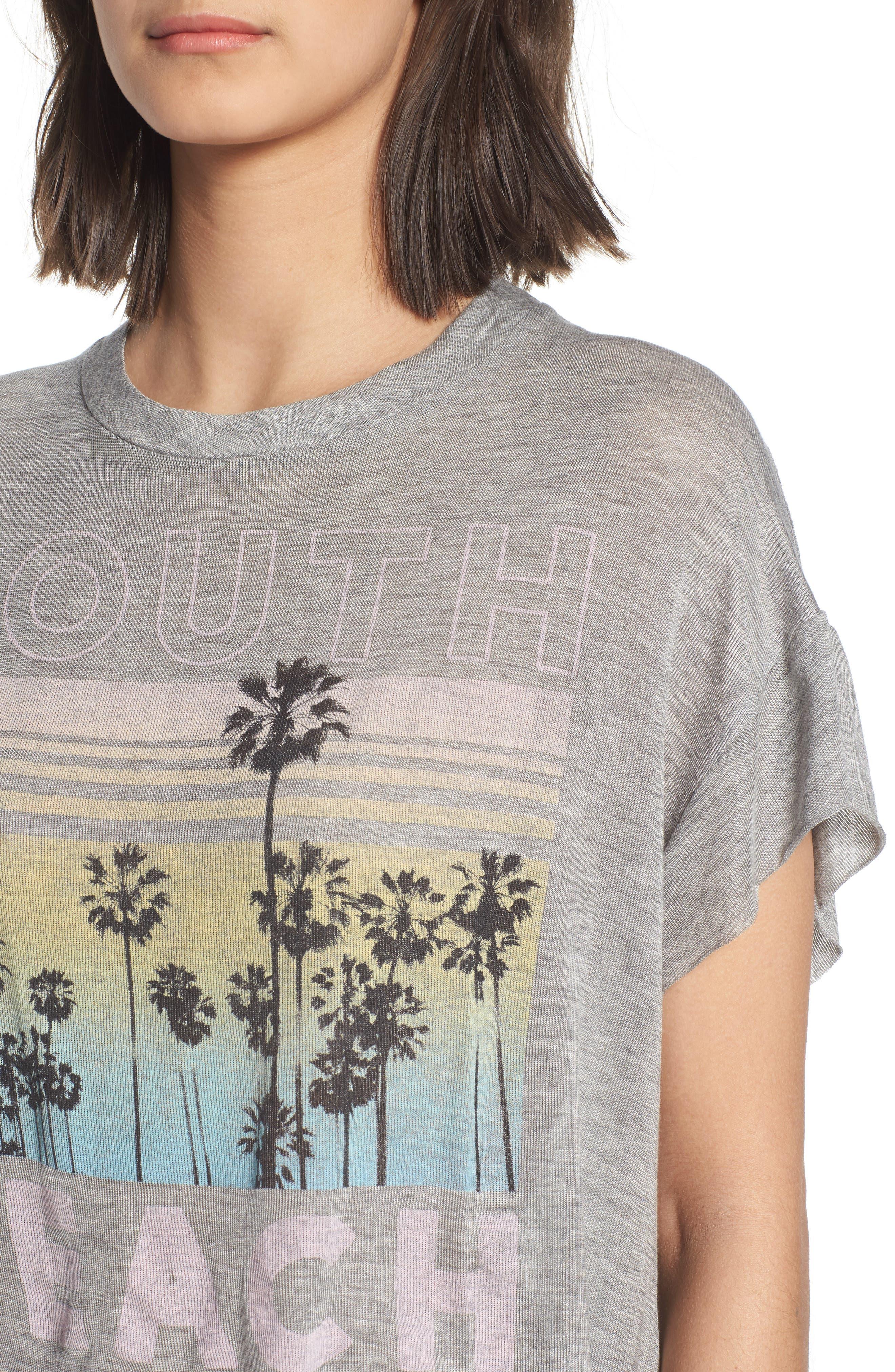 South Beach Boxy Crop Tee,                             Alternate thumbnail 4, color,                             Heather Grey