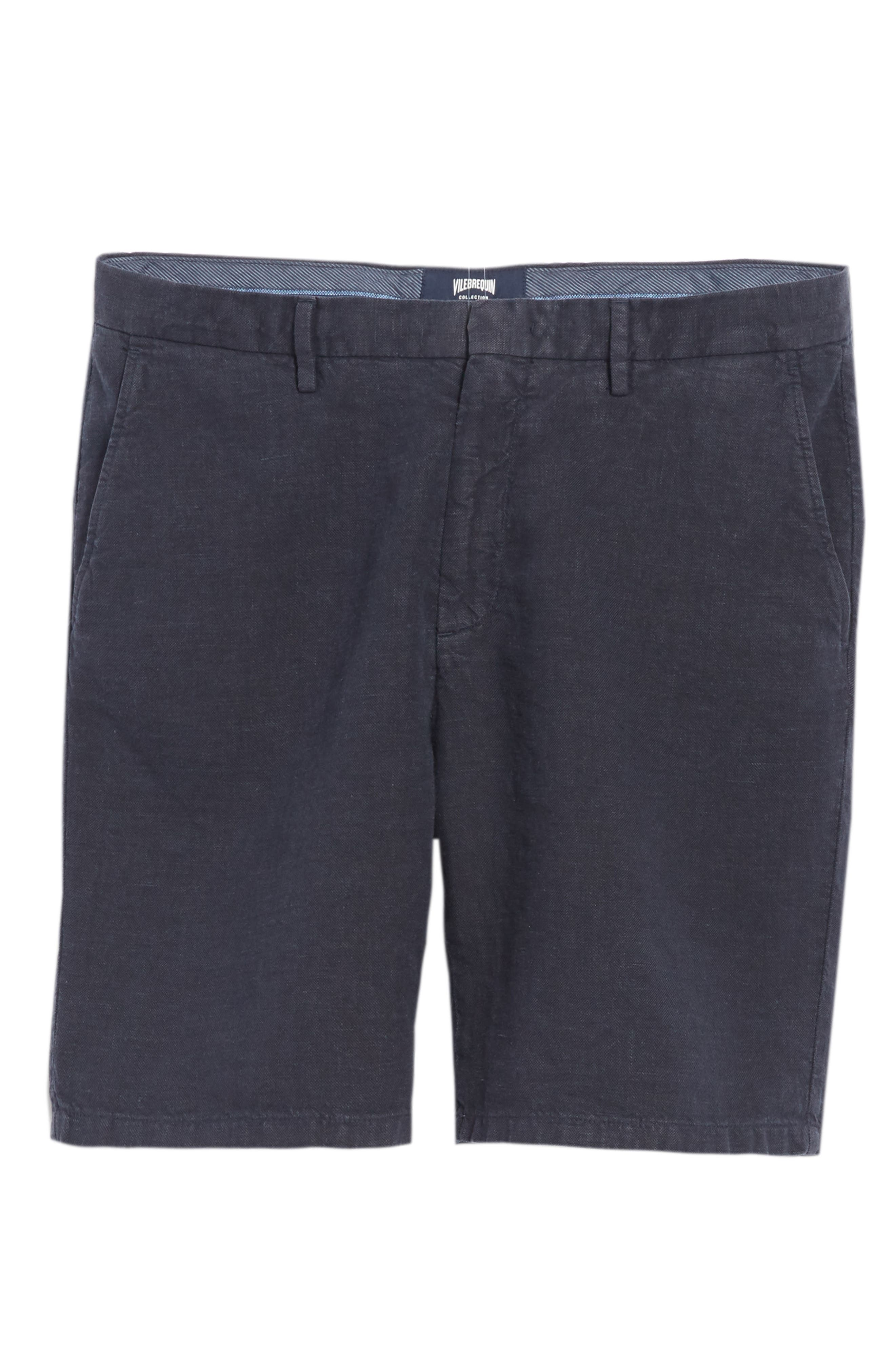 Panama Linen & Cotton Chino Shorts,                             Alternate thumbnail 6, color,                             Squid Ink