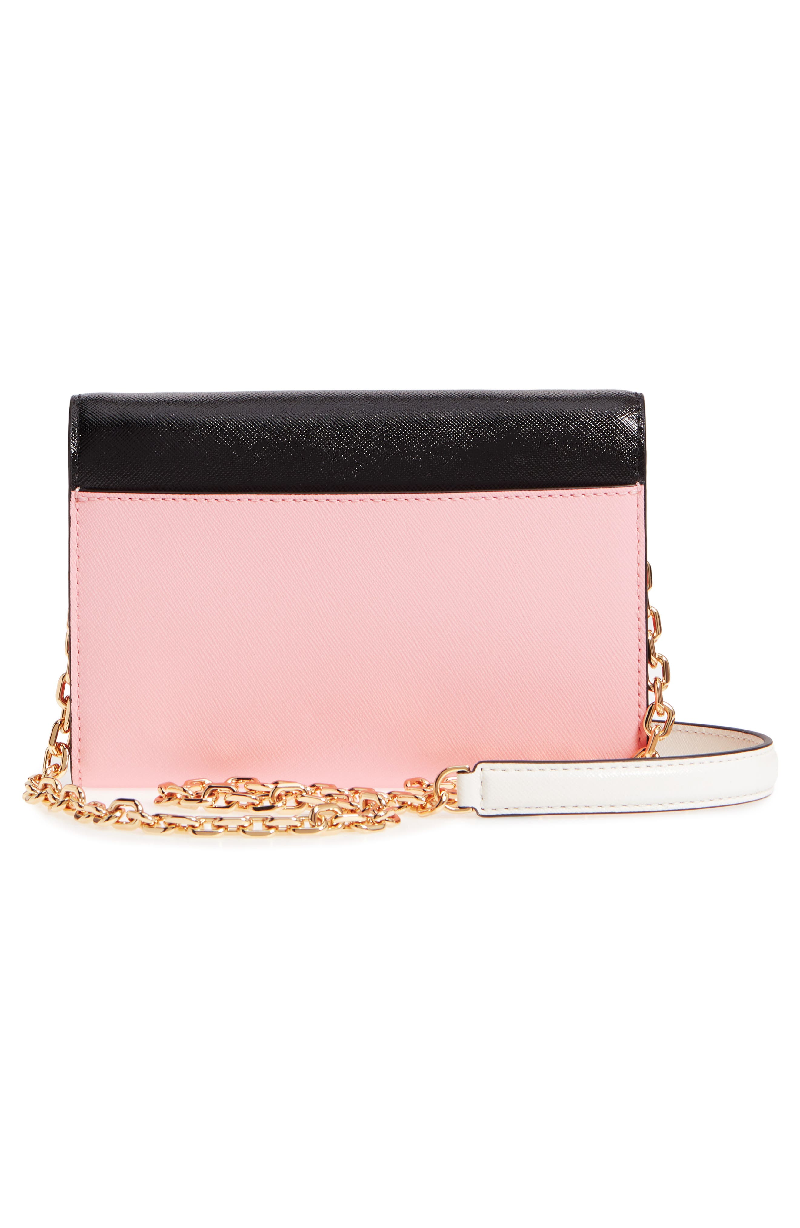 Snapshot Leather Wallet on a Chain,                             Alternate thumbnail 6, color,                             Black/ Baby Pink