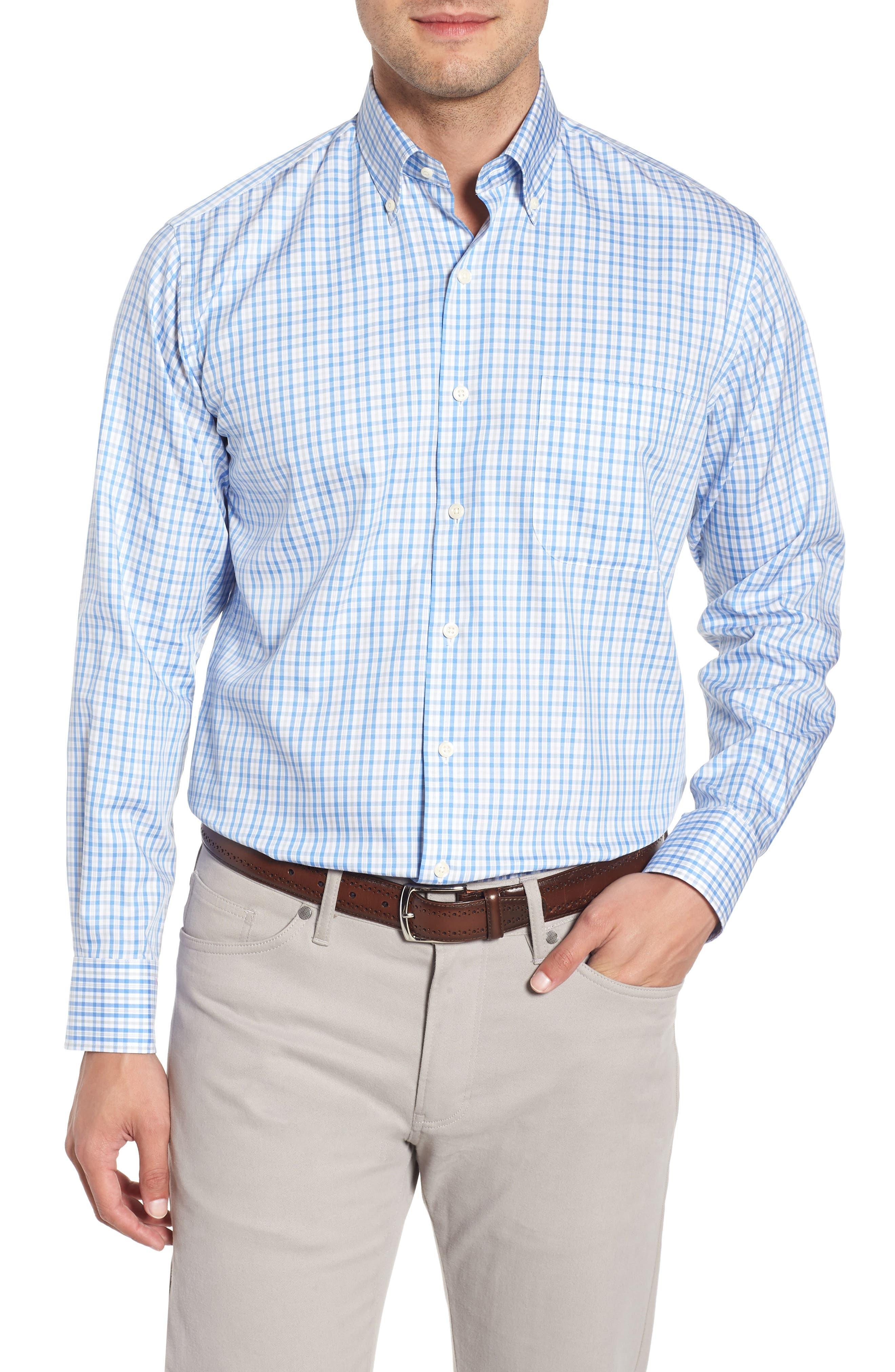Crown Soft First Hill Plaid Sport Shirt,                         Main,                         color, Marina Blue