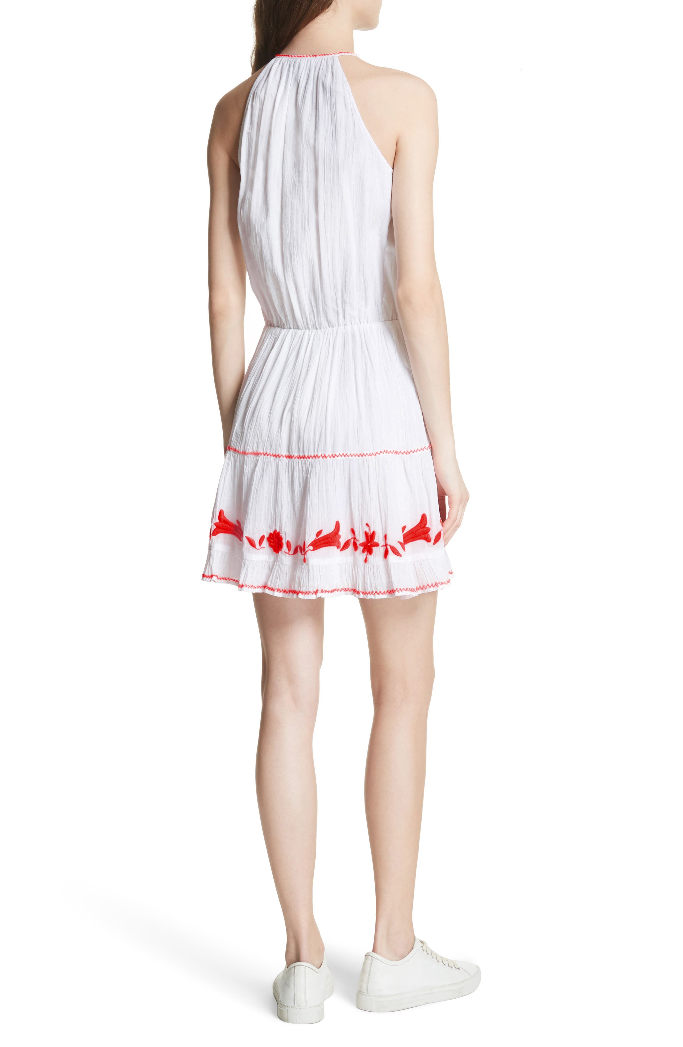 Clemency Embroidered Cotton Gauze Dress,                             Alternate thumbnail 2, color,                             Clean White Salsa