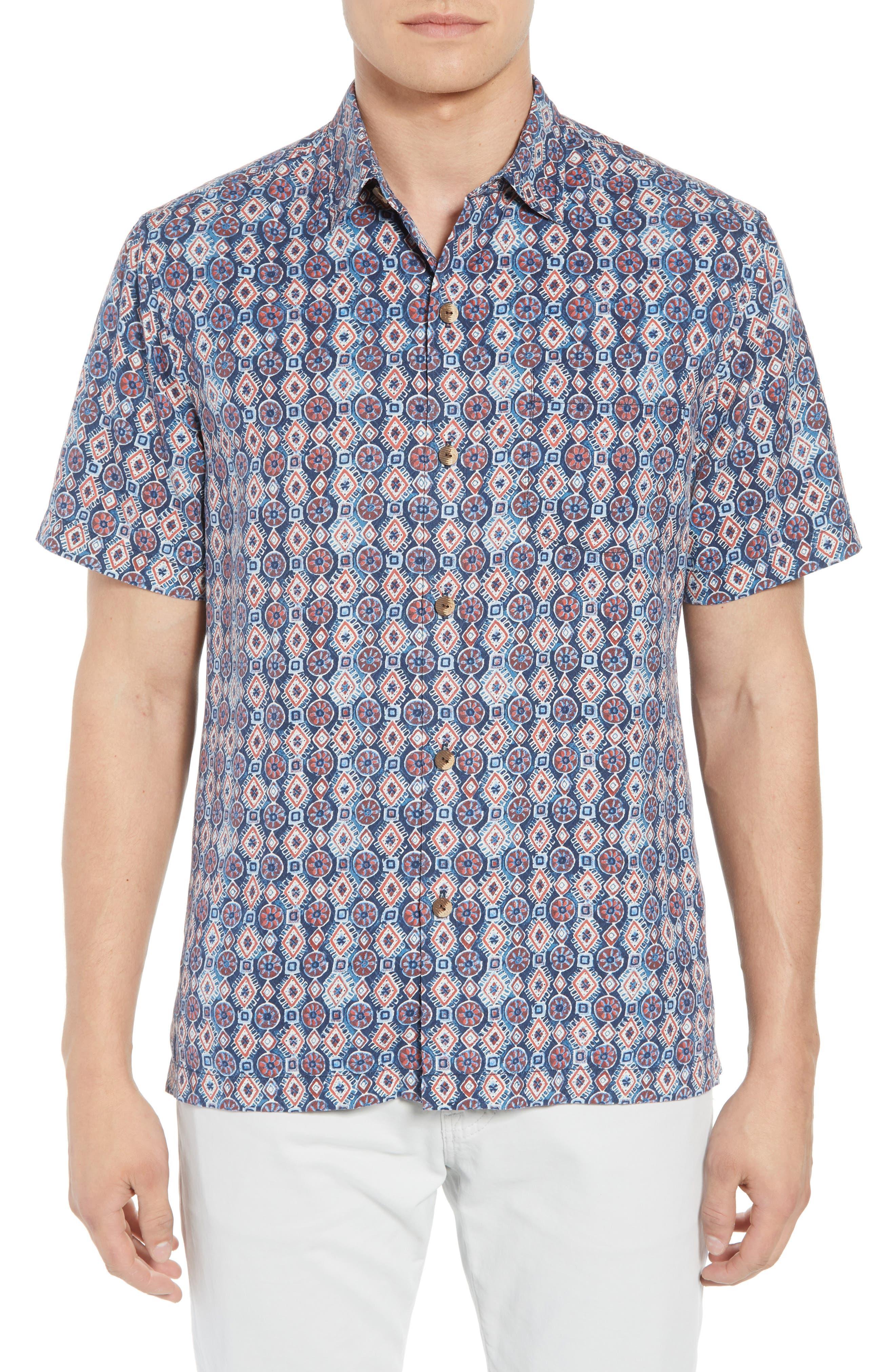 Tulum Tiles Silk Camp Shirt,                         Main,                         color, Ocean Deep