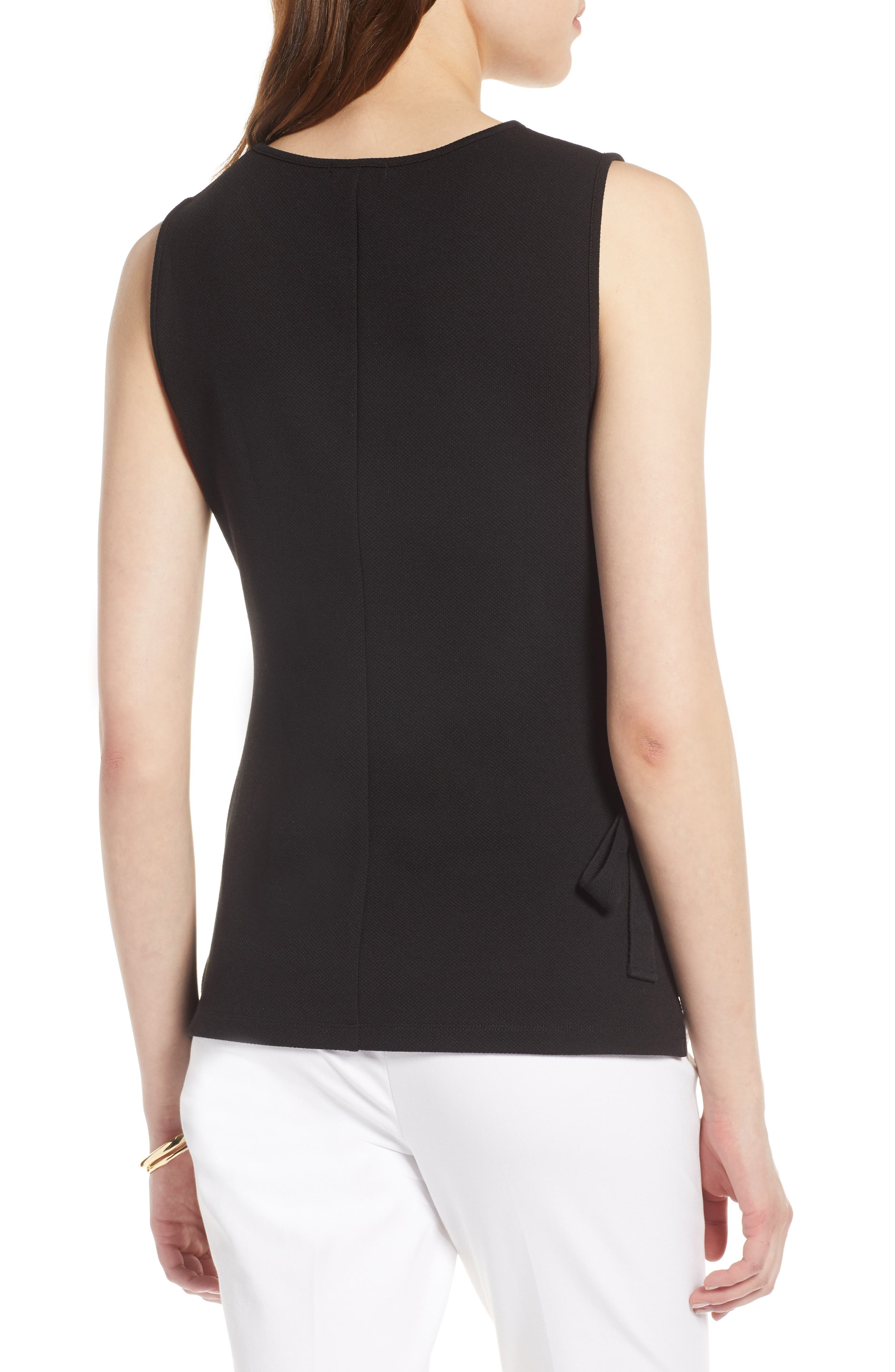 Ruched Tank Top,                             Alternate thumbnail 2, color,                             Black