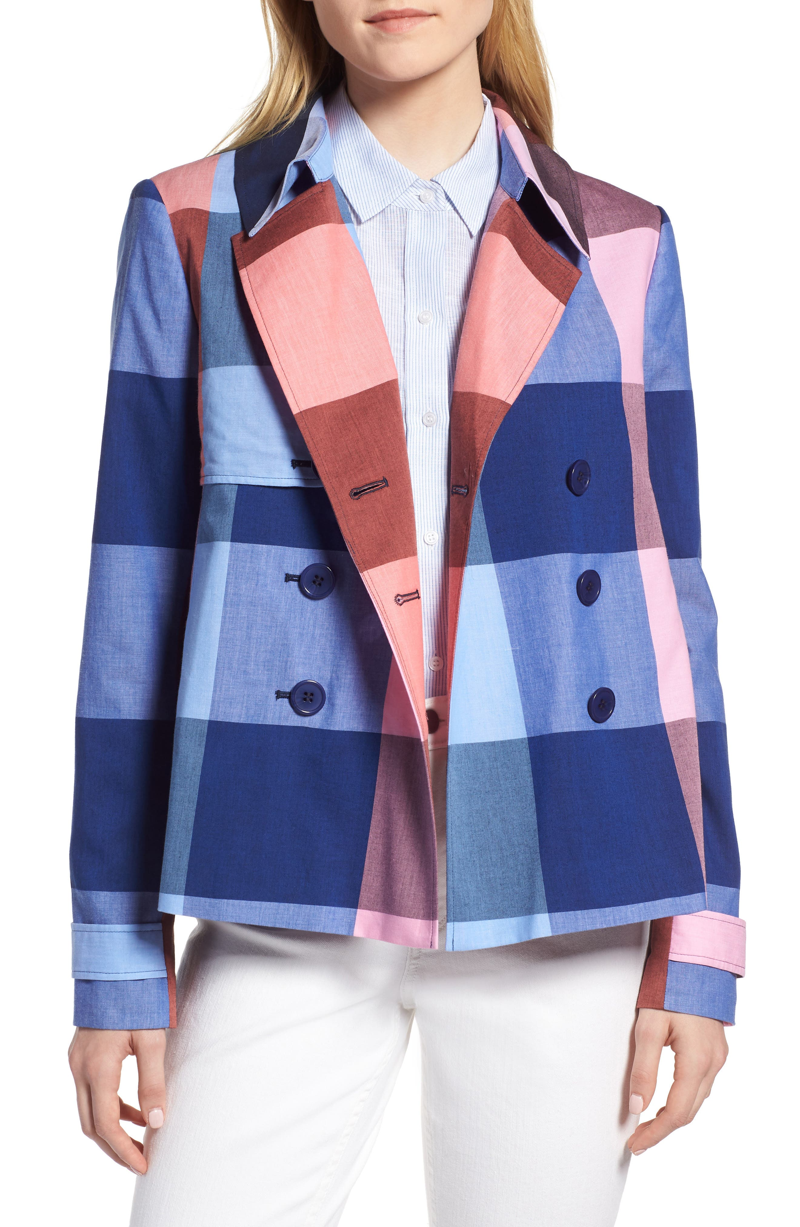 Double Breasted Plaid Cotton Blazer,                             Main thumbnail 1, color,                             Pink- Blue Plaid
