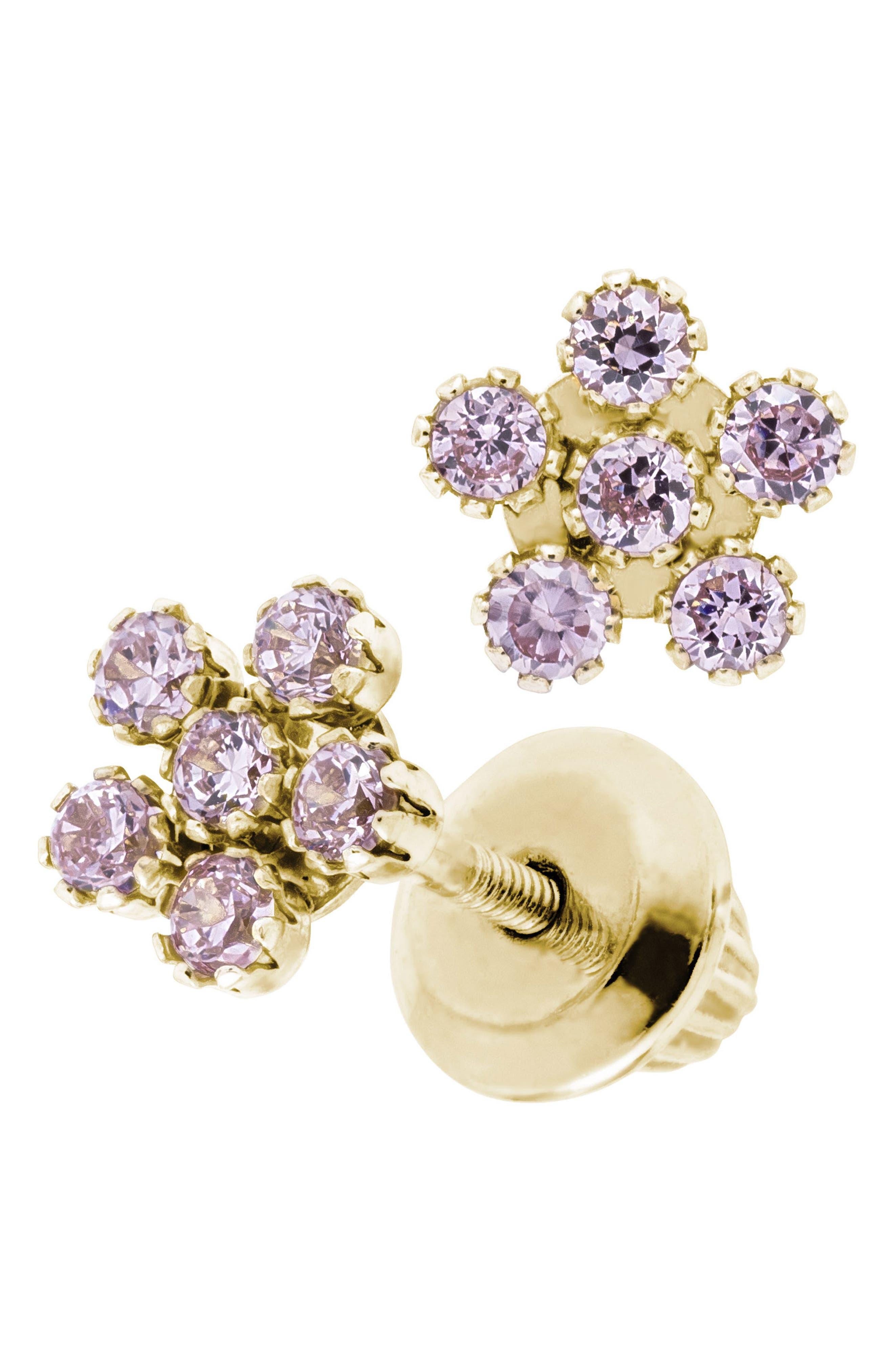 14k Gold & Cubic Zirconia Flower Earrings,                             Alternate thumbnail 2, color,                             Pink/ Gold