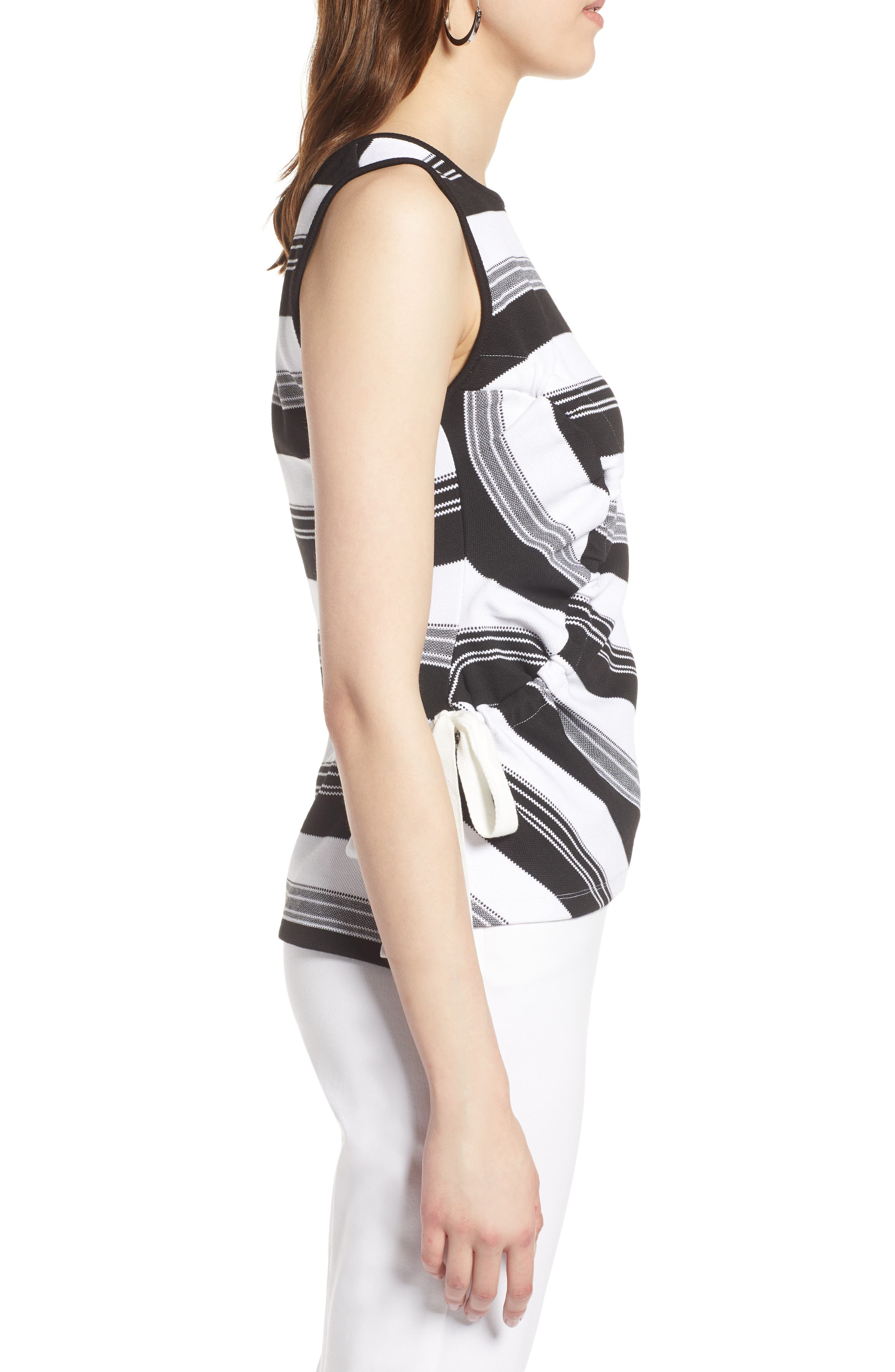 Ruched Stripe Tank Top,                             Alternate thumbnail 3, color,                             Black- Ivory Stripe