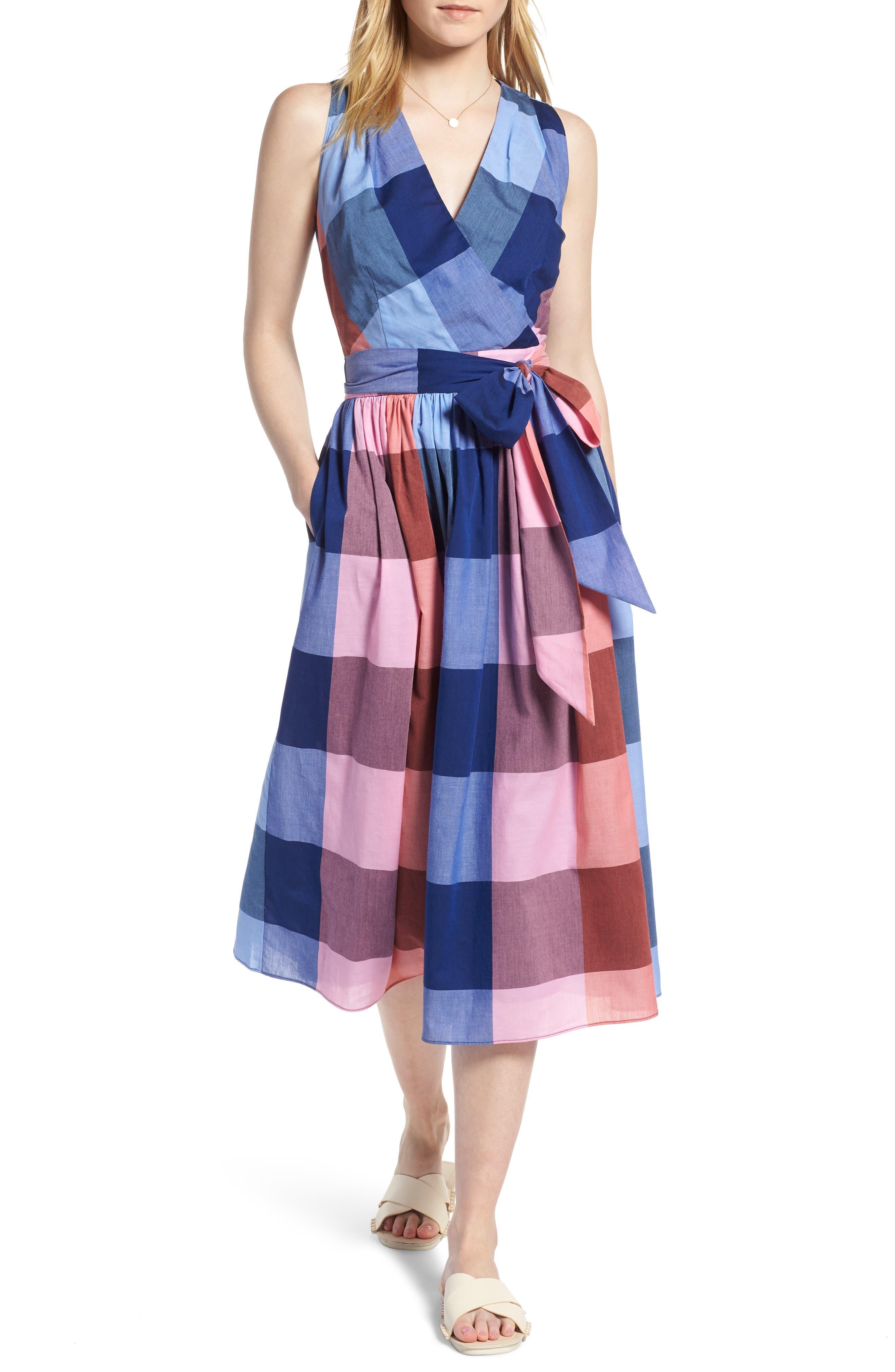 Plaid Cotton Wrap Style Dress,                             Main thumbnail 1, color,                             Pink- Blue Plaid