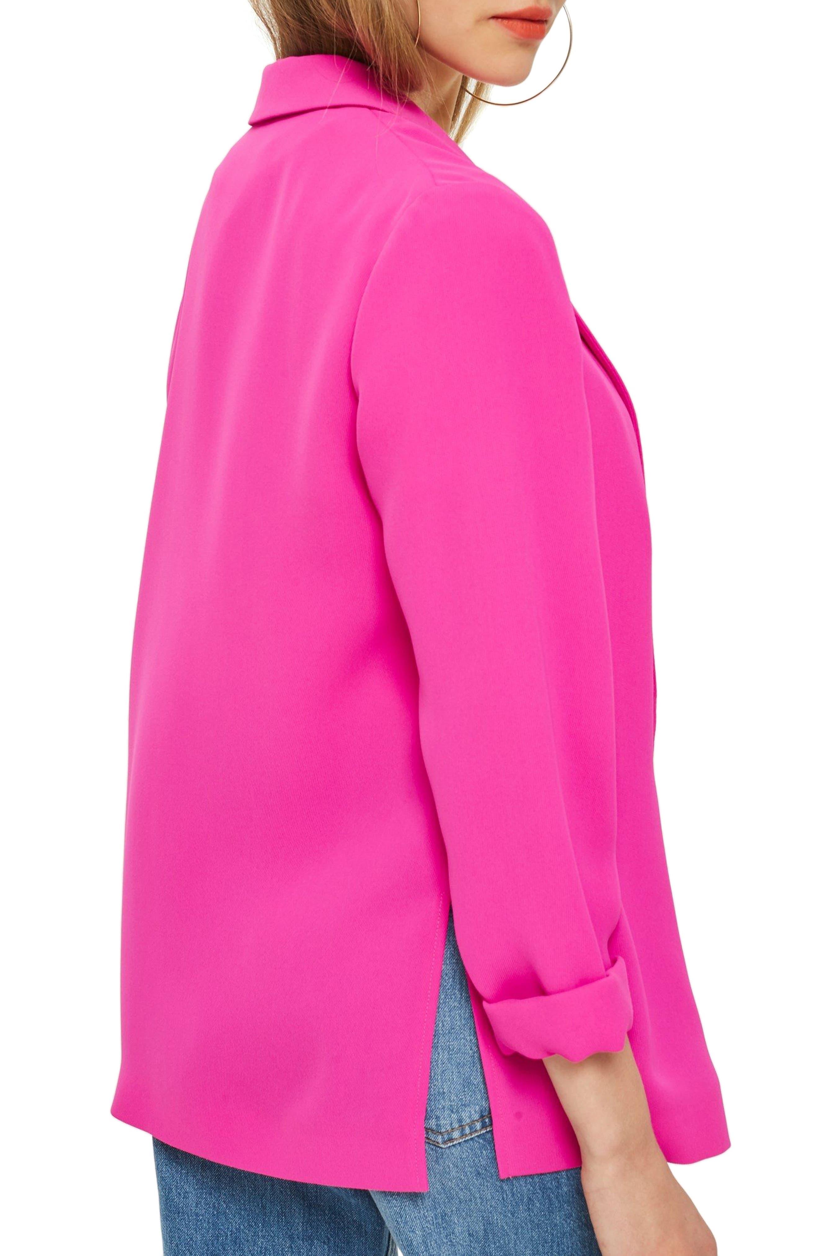 Ava Double Breasted Jacket,                             Alternate thumbnail 3, color,                             Fuschia