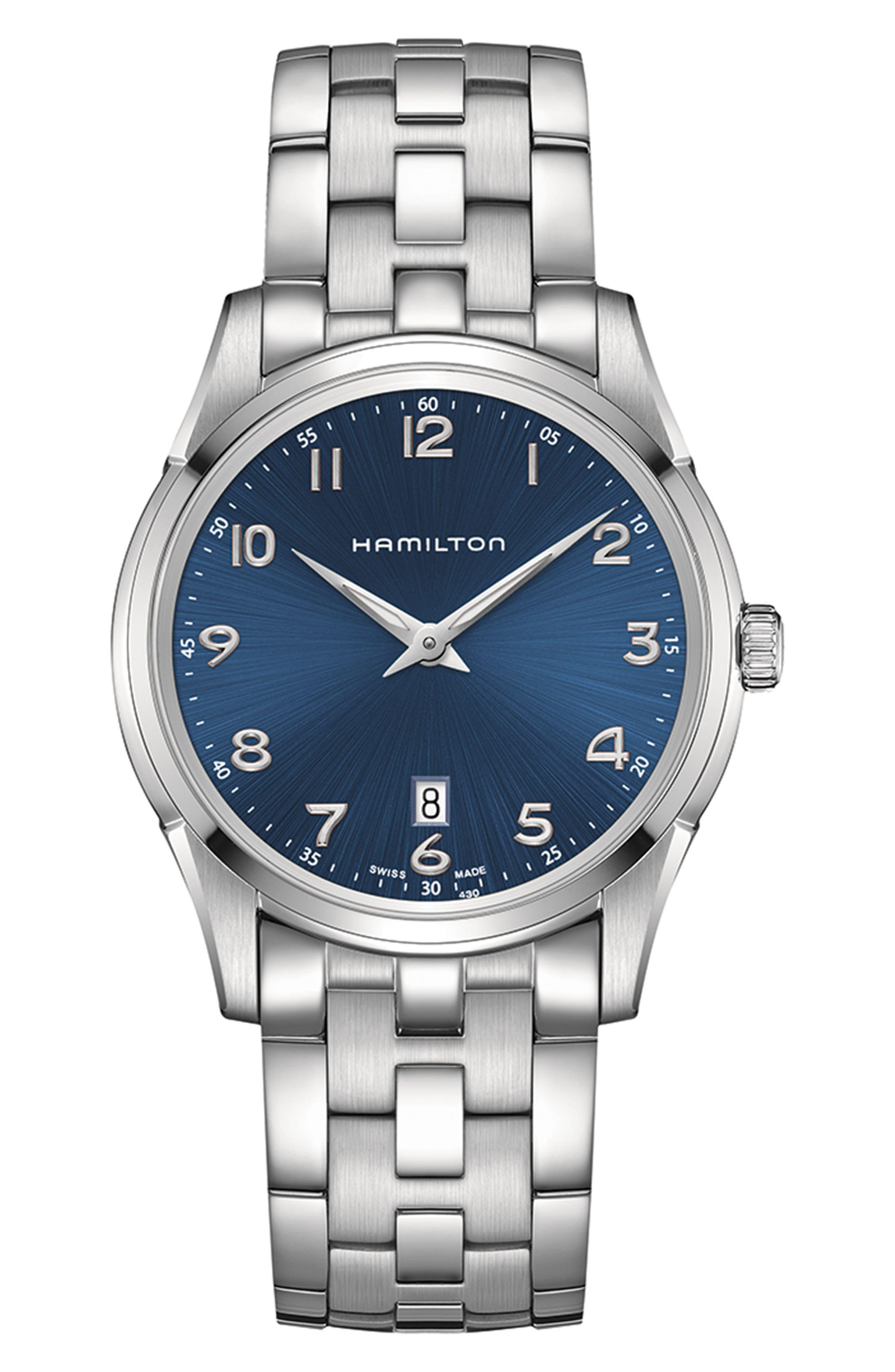 Jazzmaster Thinline Bracelet Watch, 42mm,                             Main thumbnail 1, color,                             Silver/ Blue/ Silver