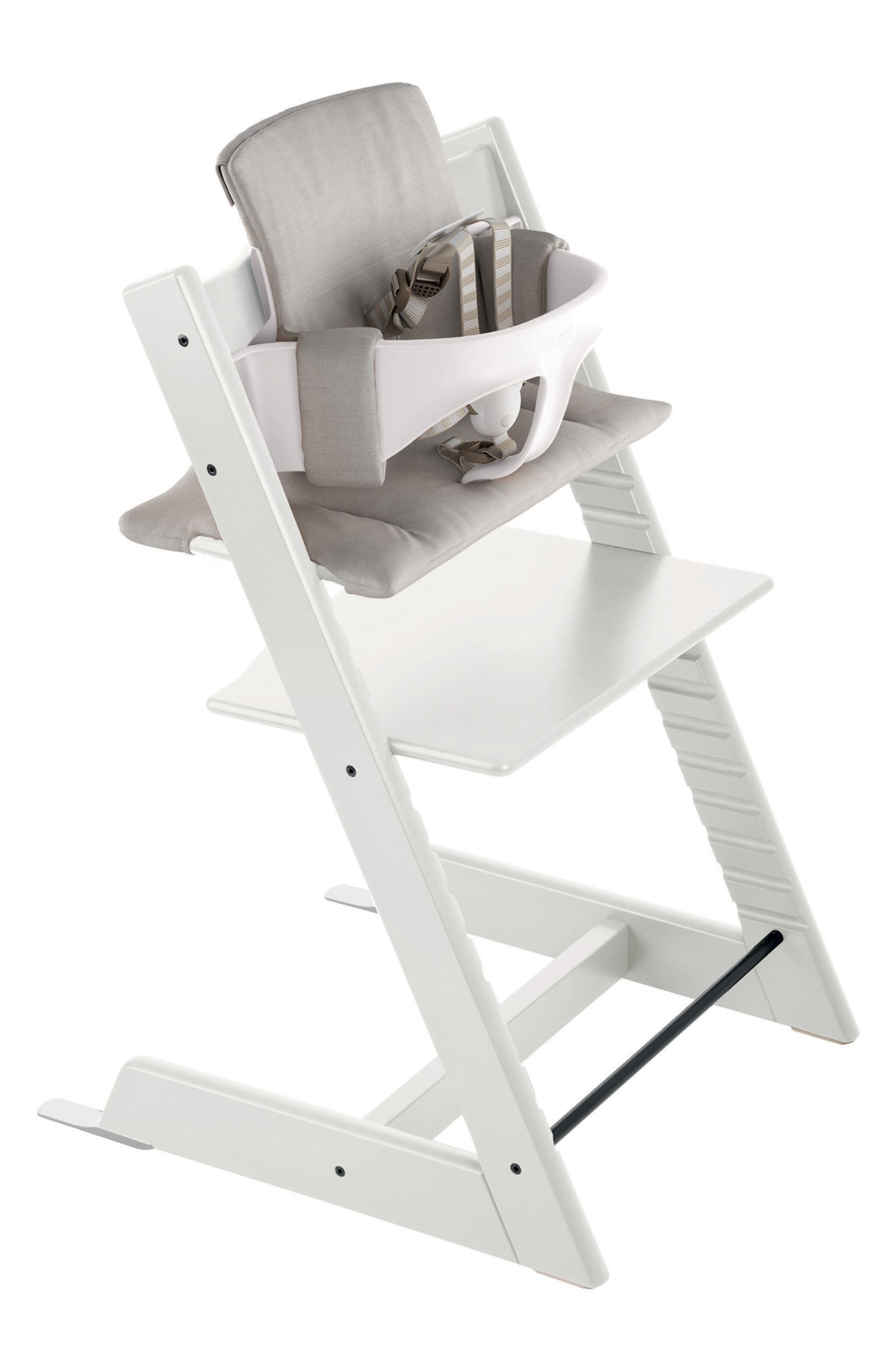 Tripp Trapp<sup>®</sup> High Chair, Baby Set, Cushion & Tray Set,                             Main thumbnail 1, color,                             White