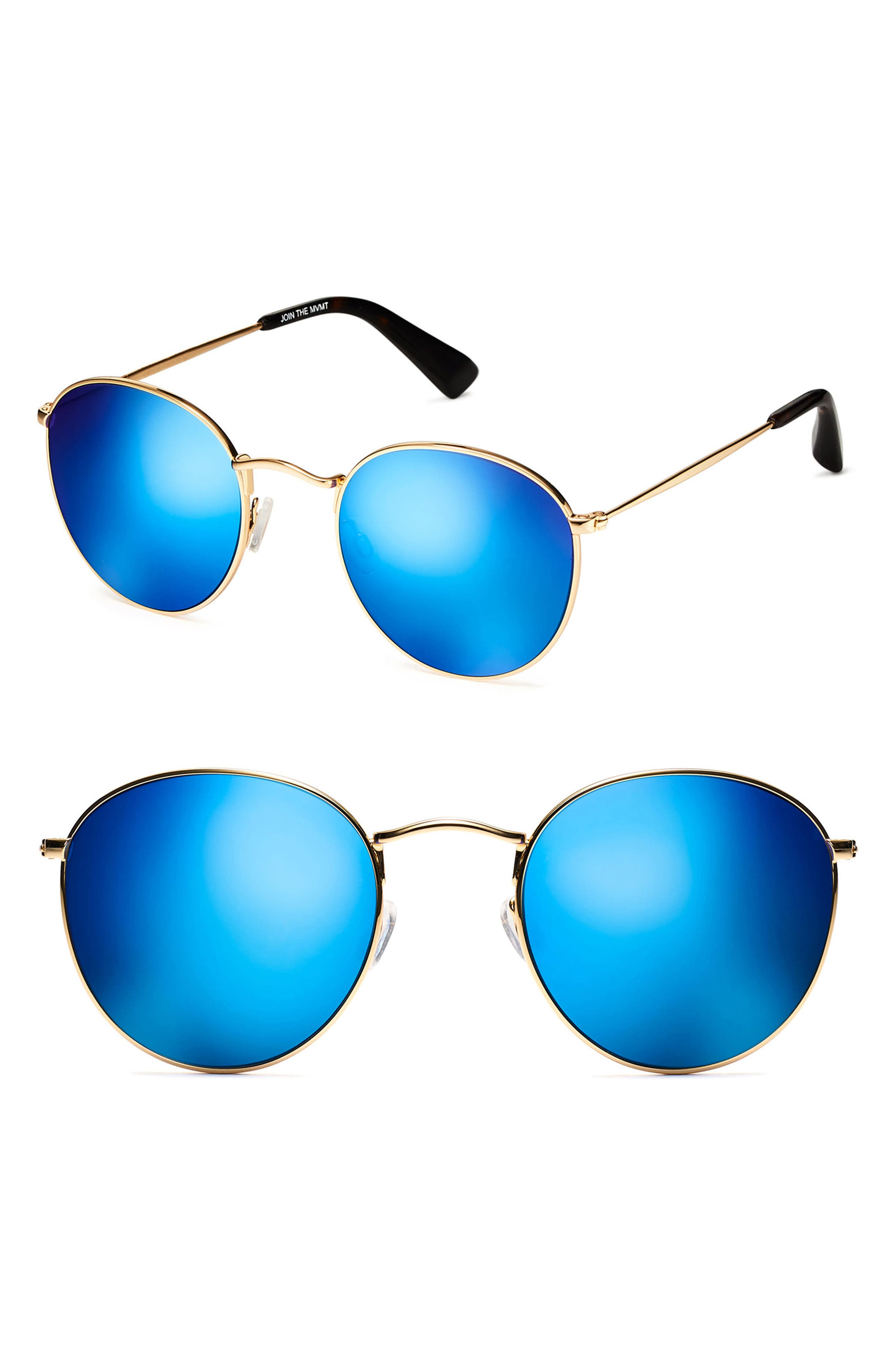 Icon 50mm Wire Sunglasses,                             Main thumbnail 1, color,                             Gold Blue