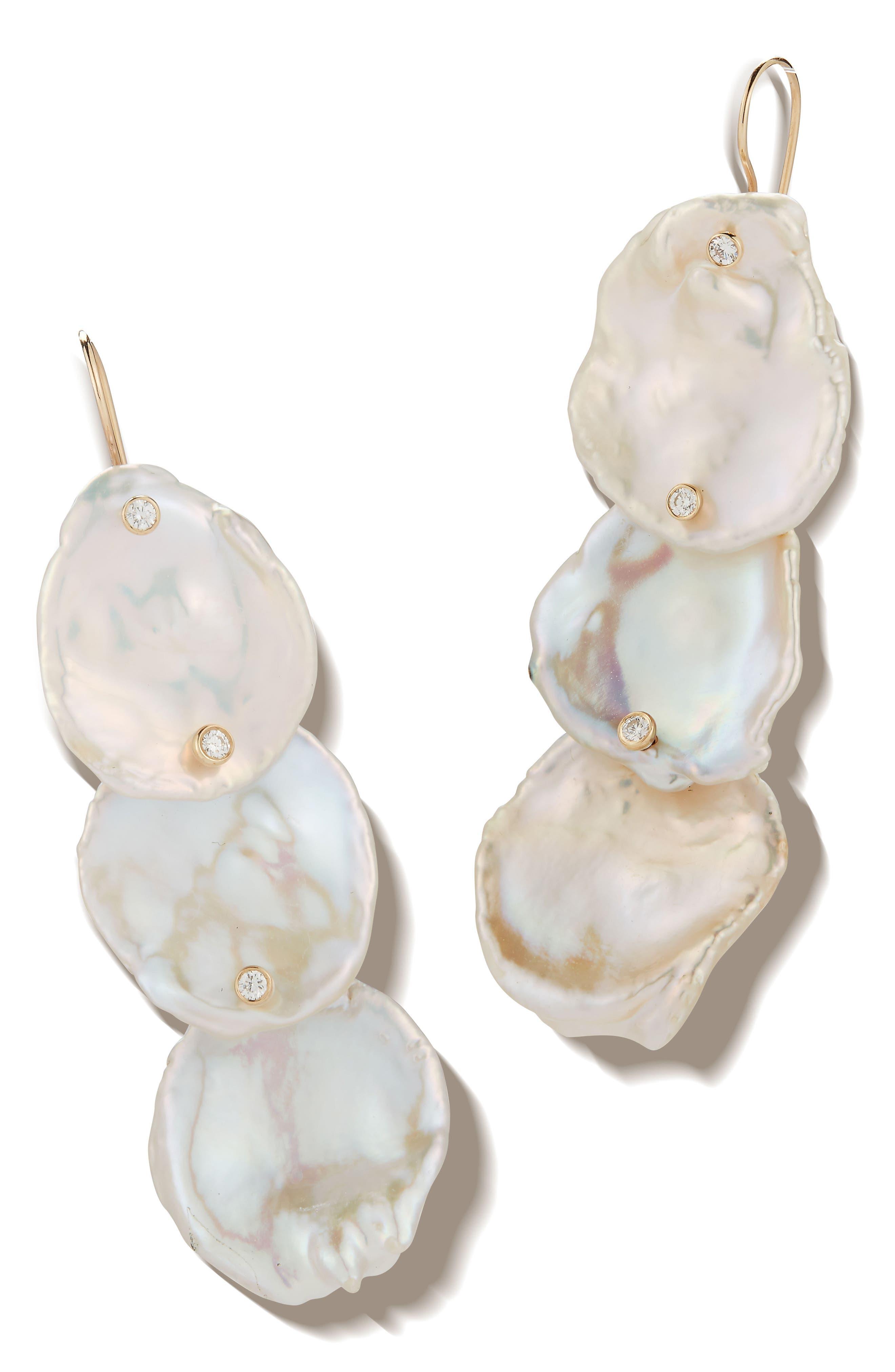 3-Tier Flat Pearl & Diamond Drop Earrings,                             Main thumbnail 1, color,                             Yellow Gold/ Pearl