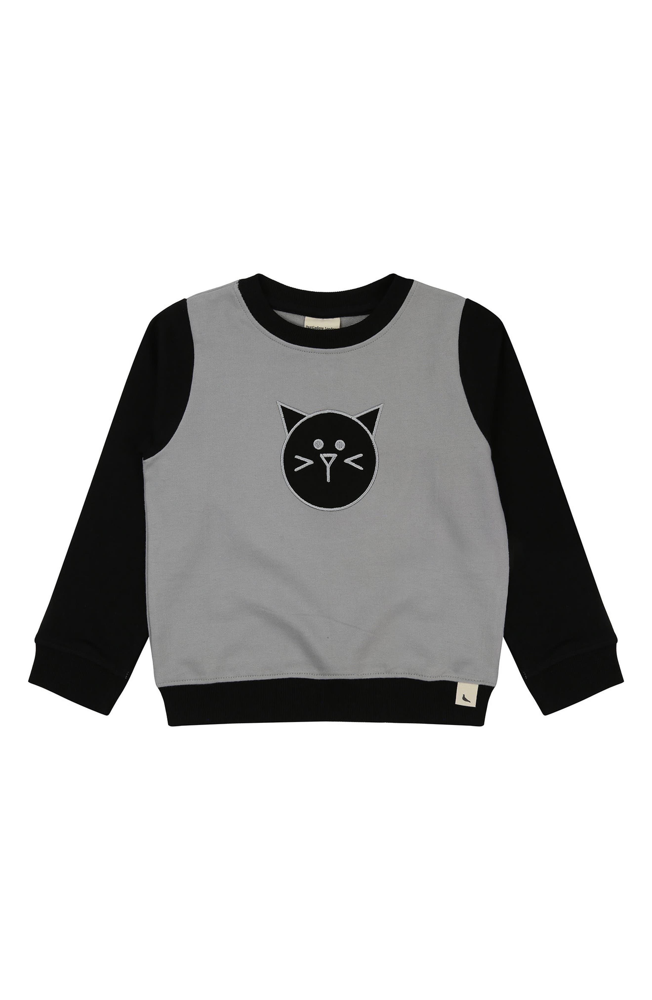 Cat Appliqué Organic Cotton Sweatshirt,                             Main thumbnail 1, color,                             Monochome