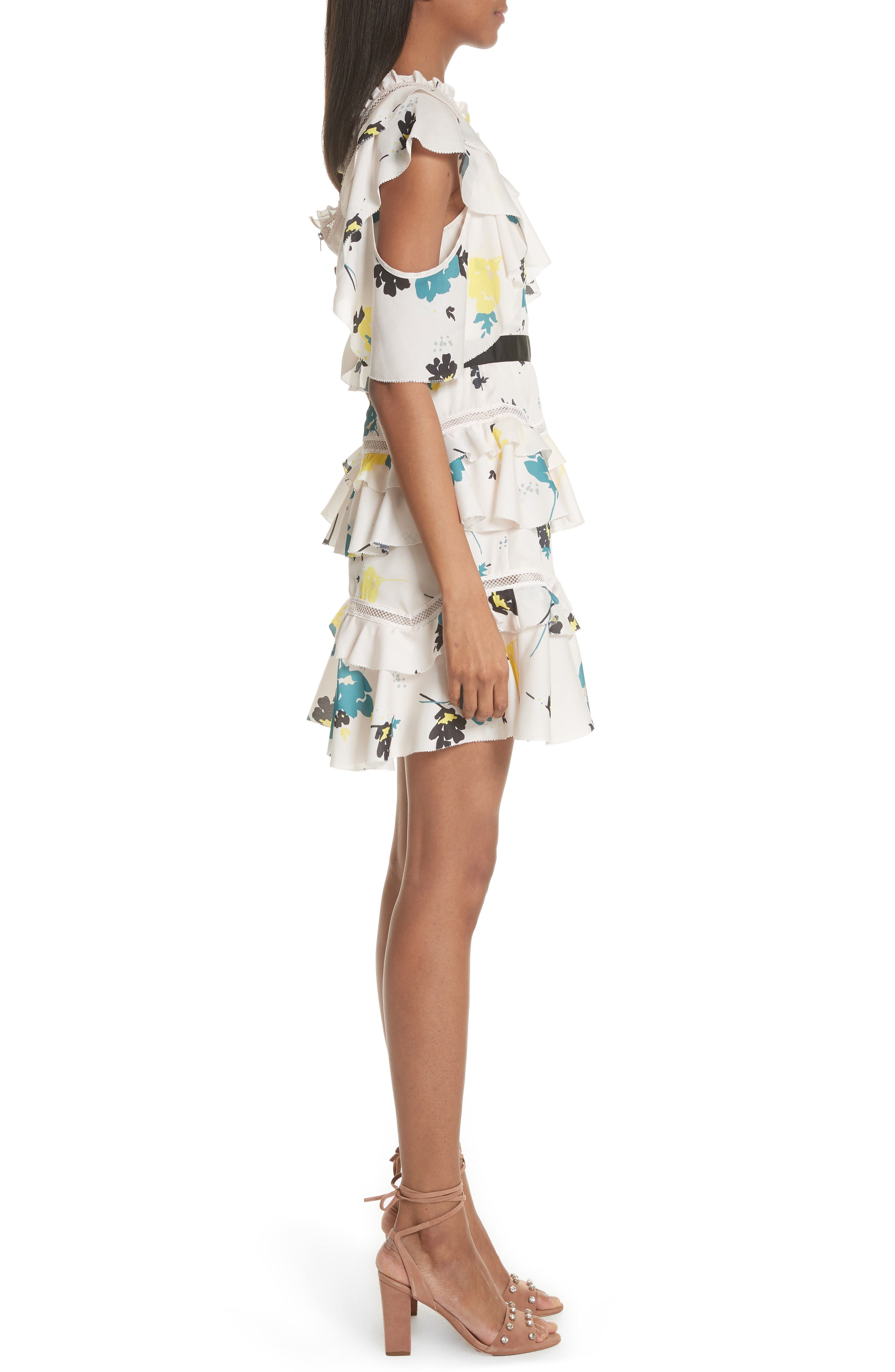Floral Tiered One Shoulder Dress by Self Portrait