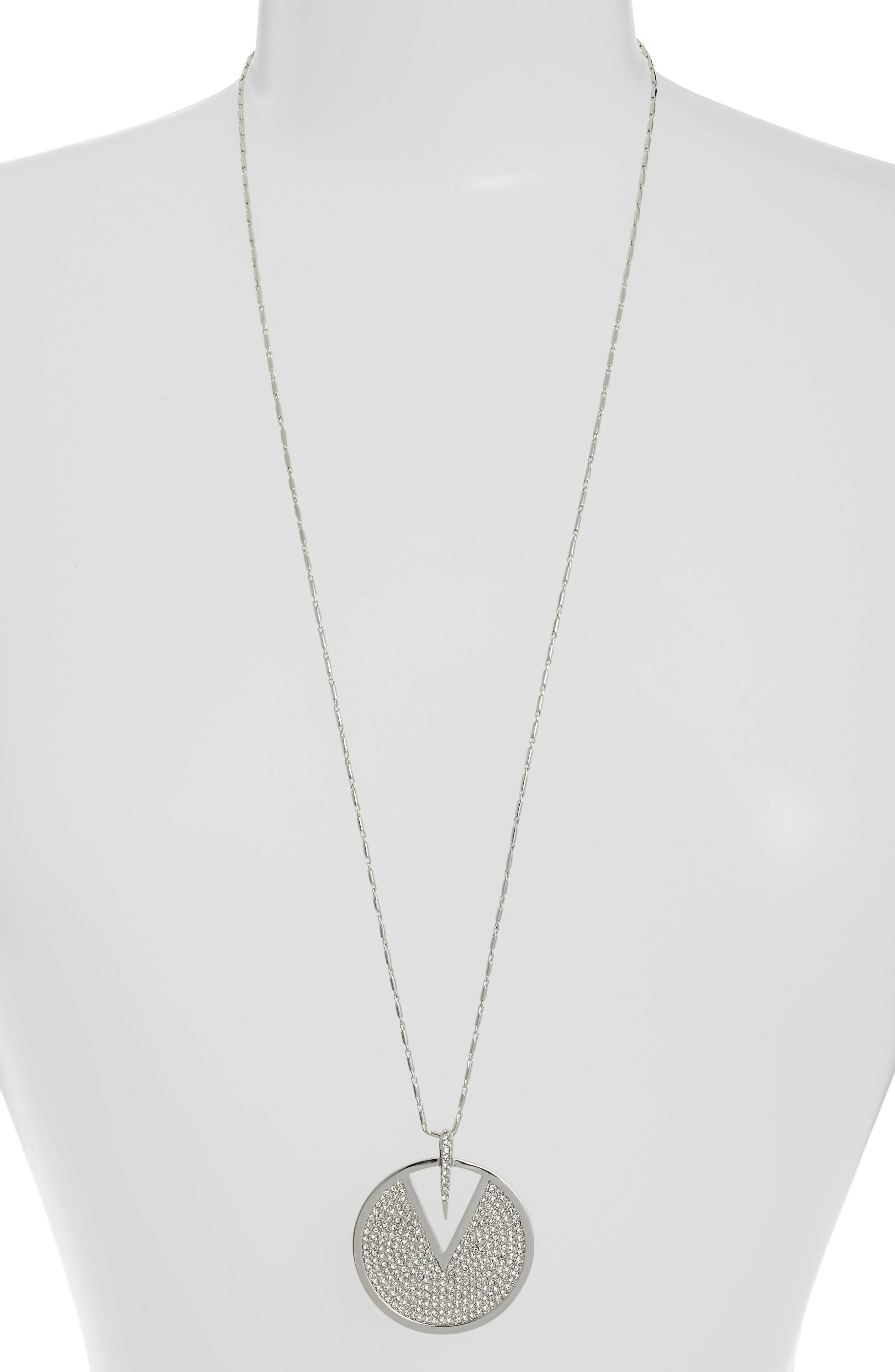 Crystal Pavé Disc Necklace,                             Main thumbnail 1, color,                             Silver