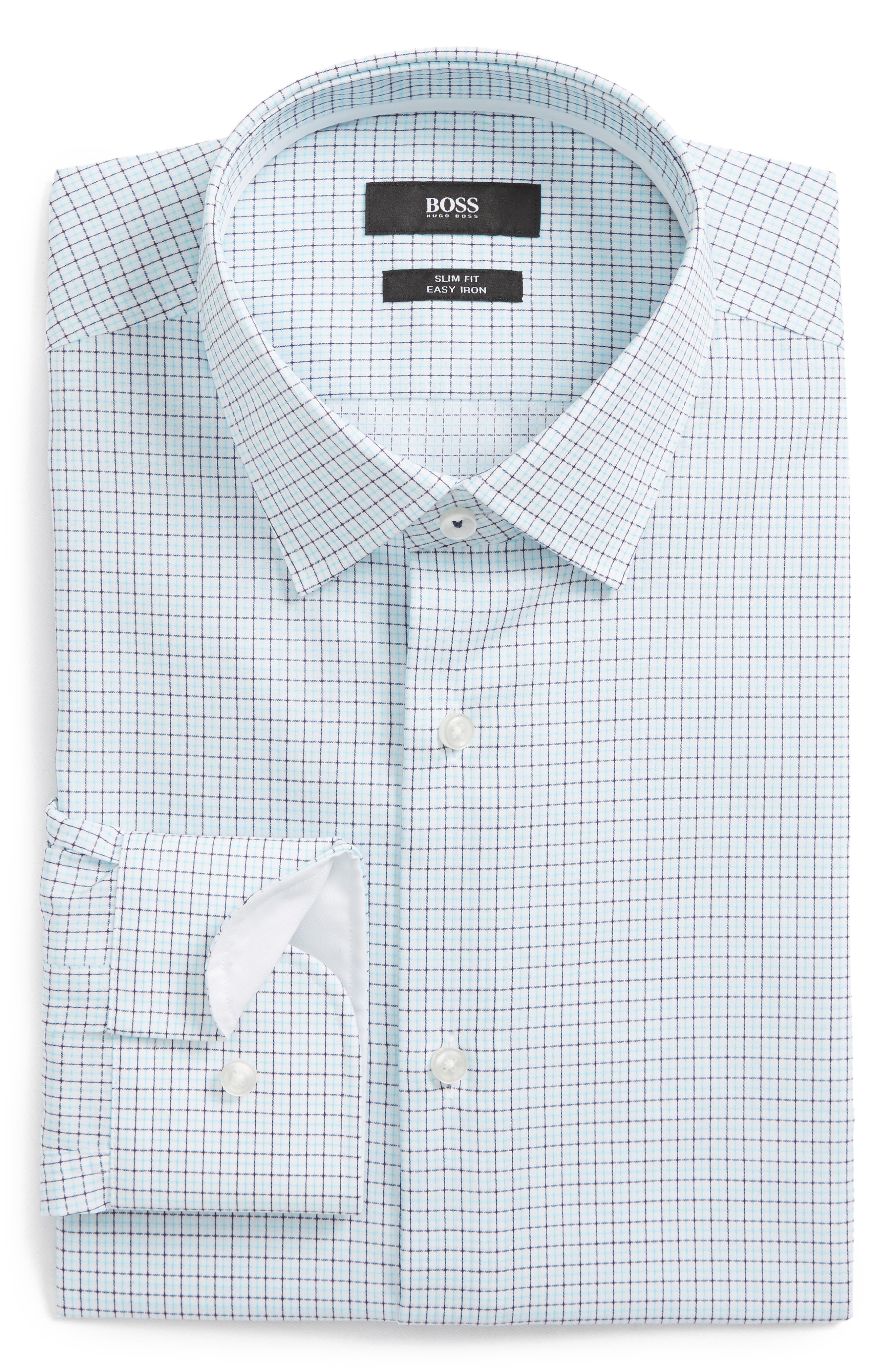 BOSS Jesse Slim Fit Easy Iron Check Dress Shirt
