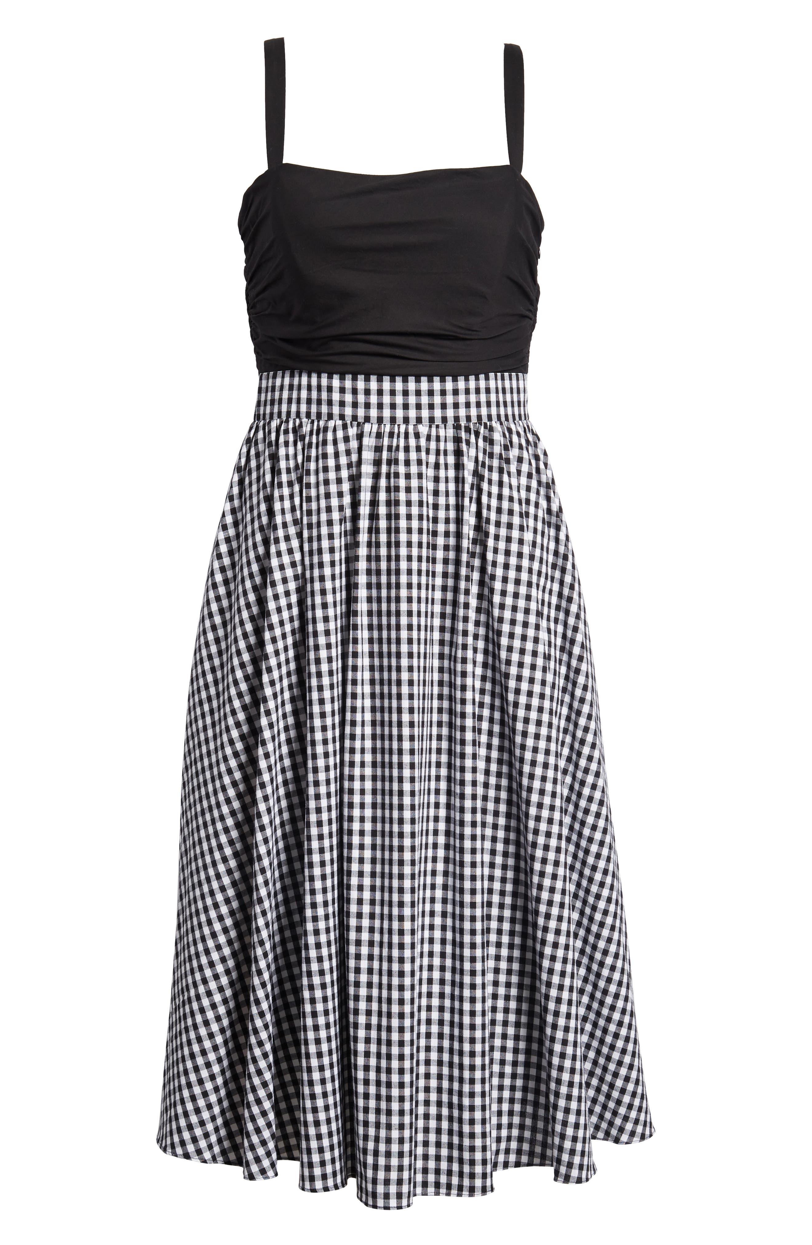 Bow Back Gingham Dress,                             Alternate thumbnail 7, color,                             Black- White Gingham